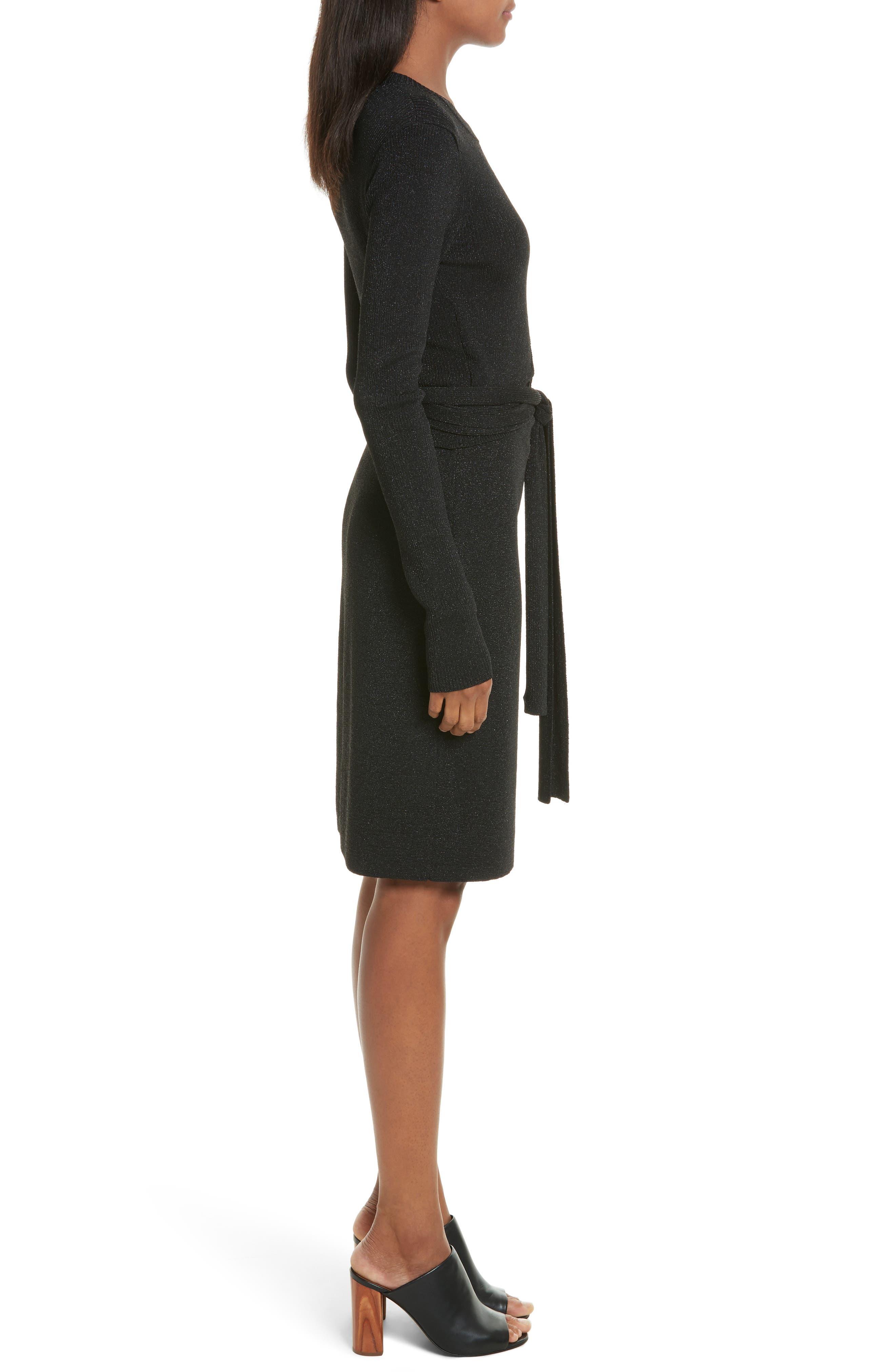 Metallic Tie Waist Dress,                             Alternate thumbnail 3, color,                             Black