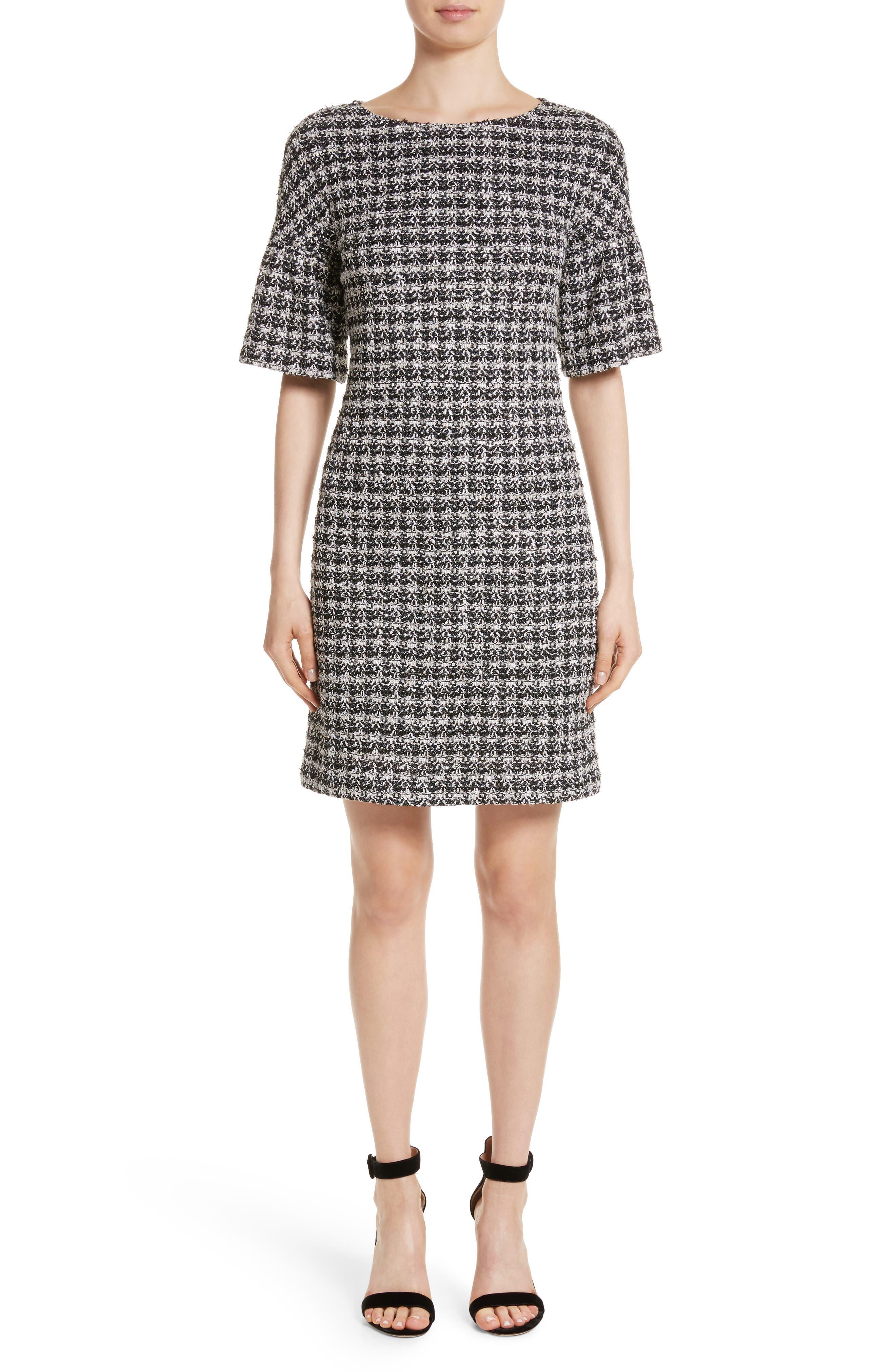 Main Image - St. John Collection Metallic Tweed Bell Sleeve Dress