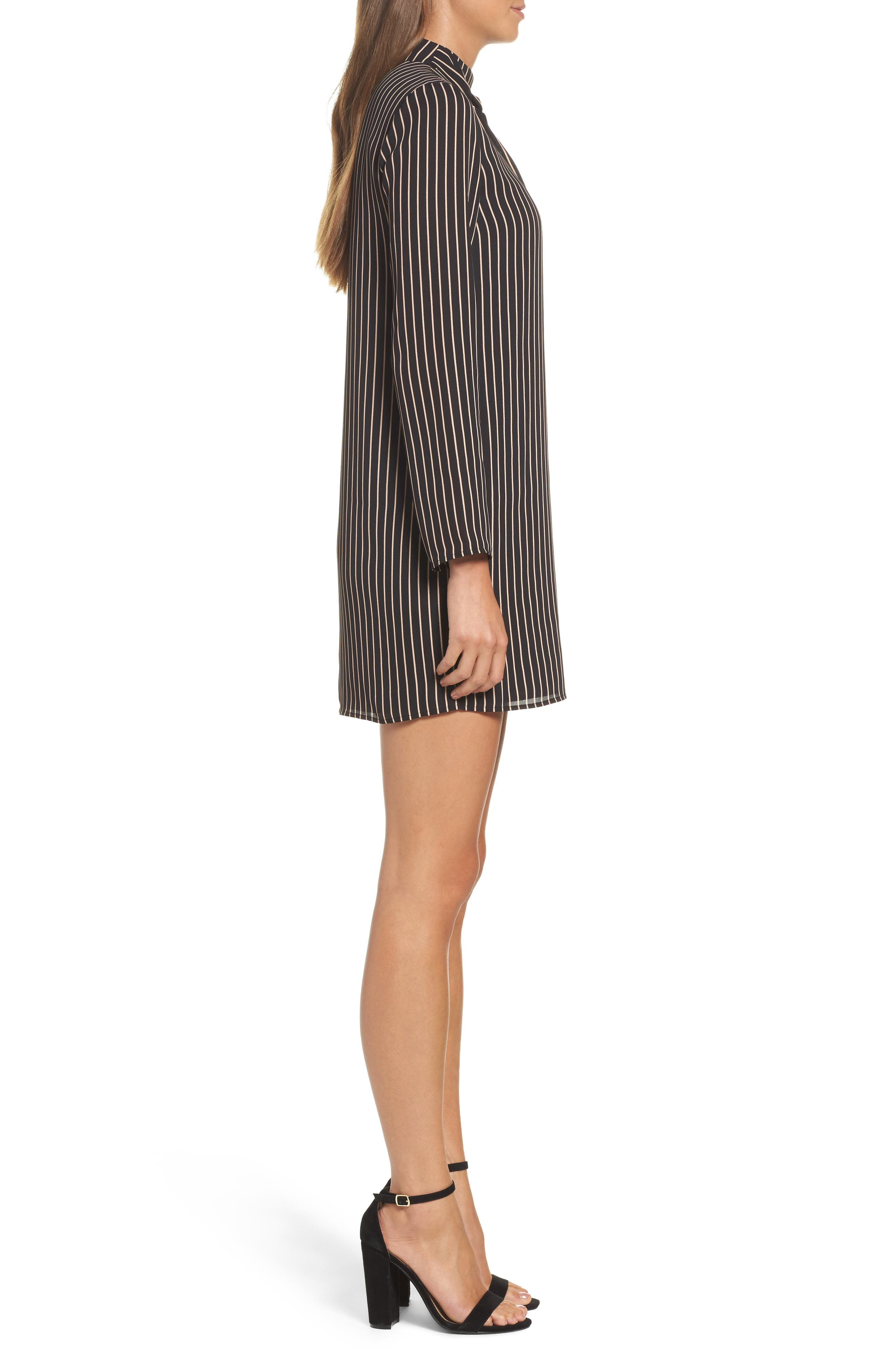 She-E-O Shift Dress,                             Alternate thumbnail 3, color,                             Black/ Tan Stripe