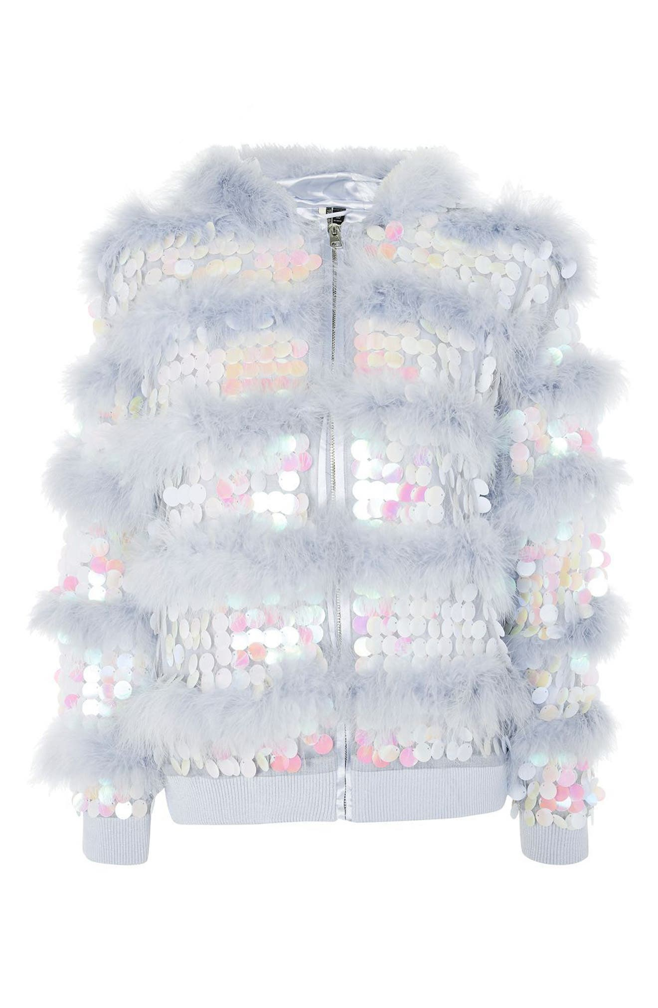Madge Paillette & Feather Hooded Jacket,                             Alternate thumbnail 4, color,                             Lilac Multi