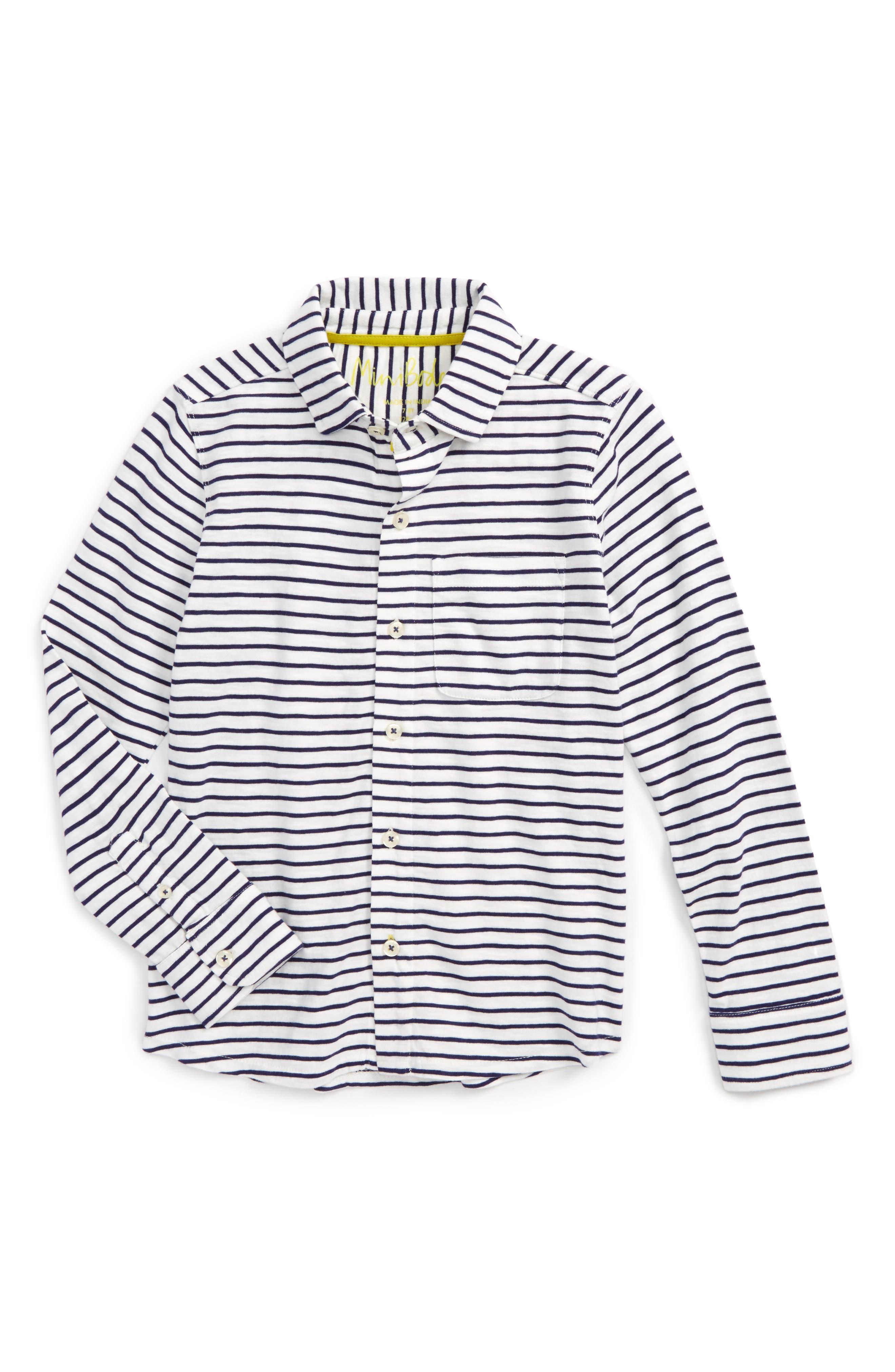 Stripe Jersey Shirt,                         Main,                         color, Ivory/ Workwear Blue