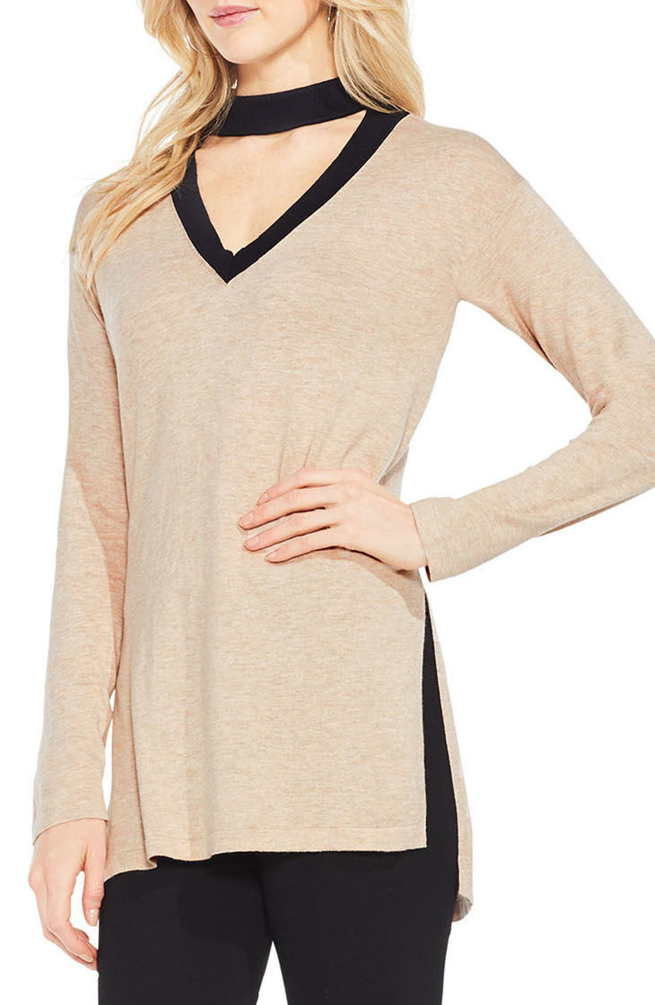 Choker V-Neck Sweater,                             Main thumbnail 1, color,                             Warm Camel Heather