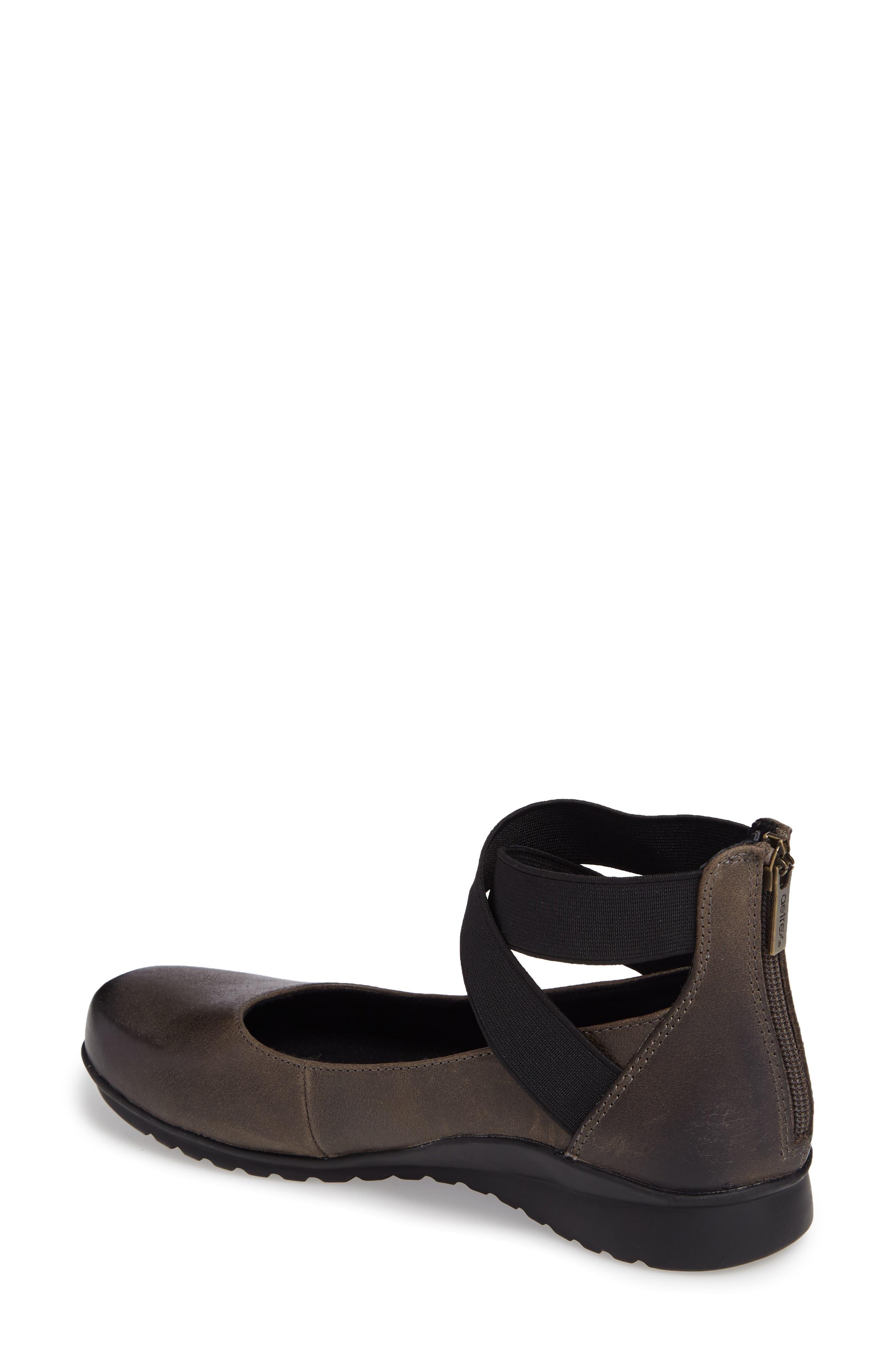 'Dakota' Ankle Strap Ballet Flat,                             Alternate thumbnail 2, color,                             Iron Leather