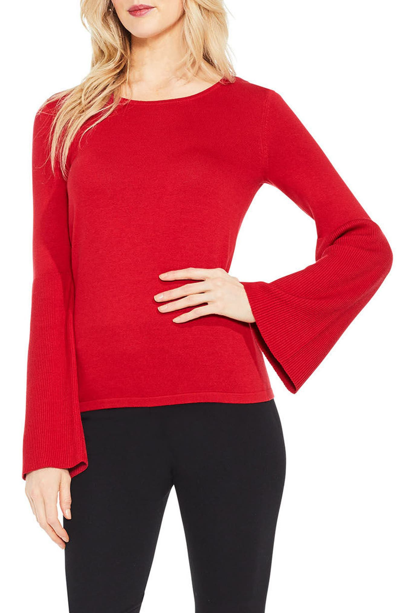 Main Image - Vince Camuto Ribbed Bell Sleeve Sweater (Regular & Petite)