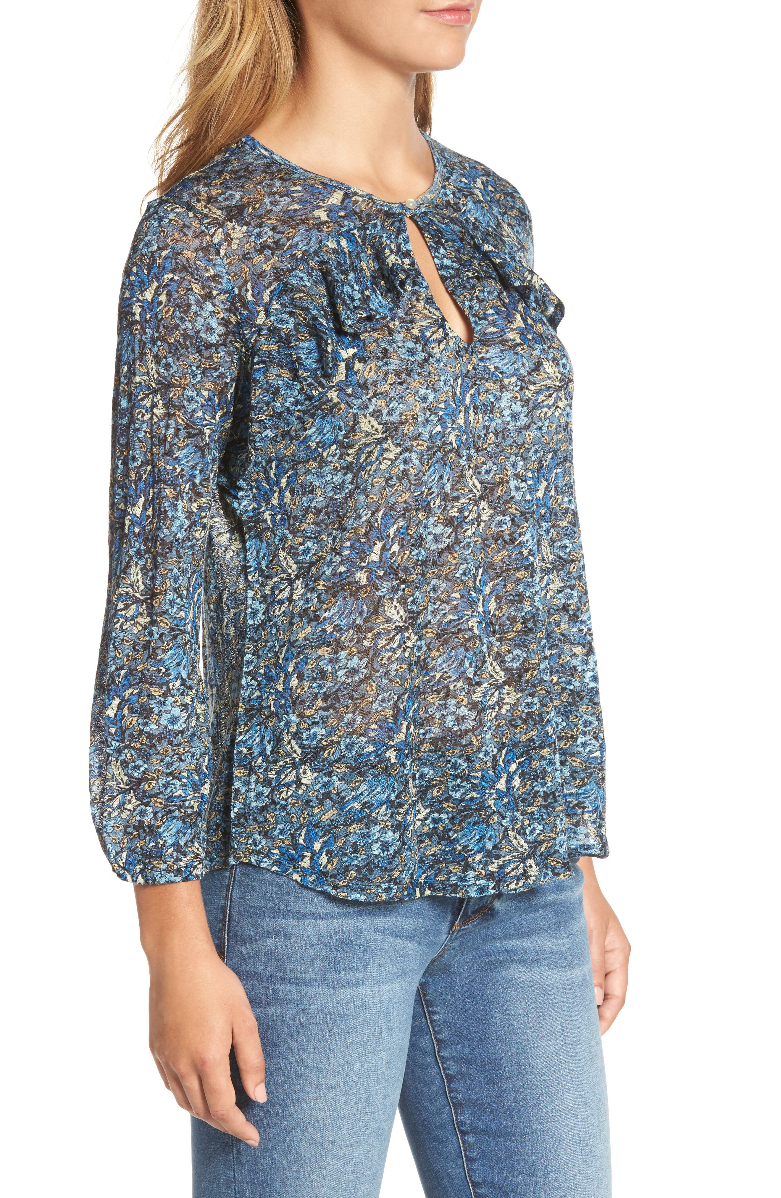Alternate Image 3  - Lucky Brand Floral Ruffle Top