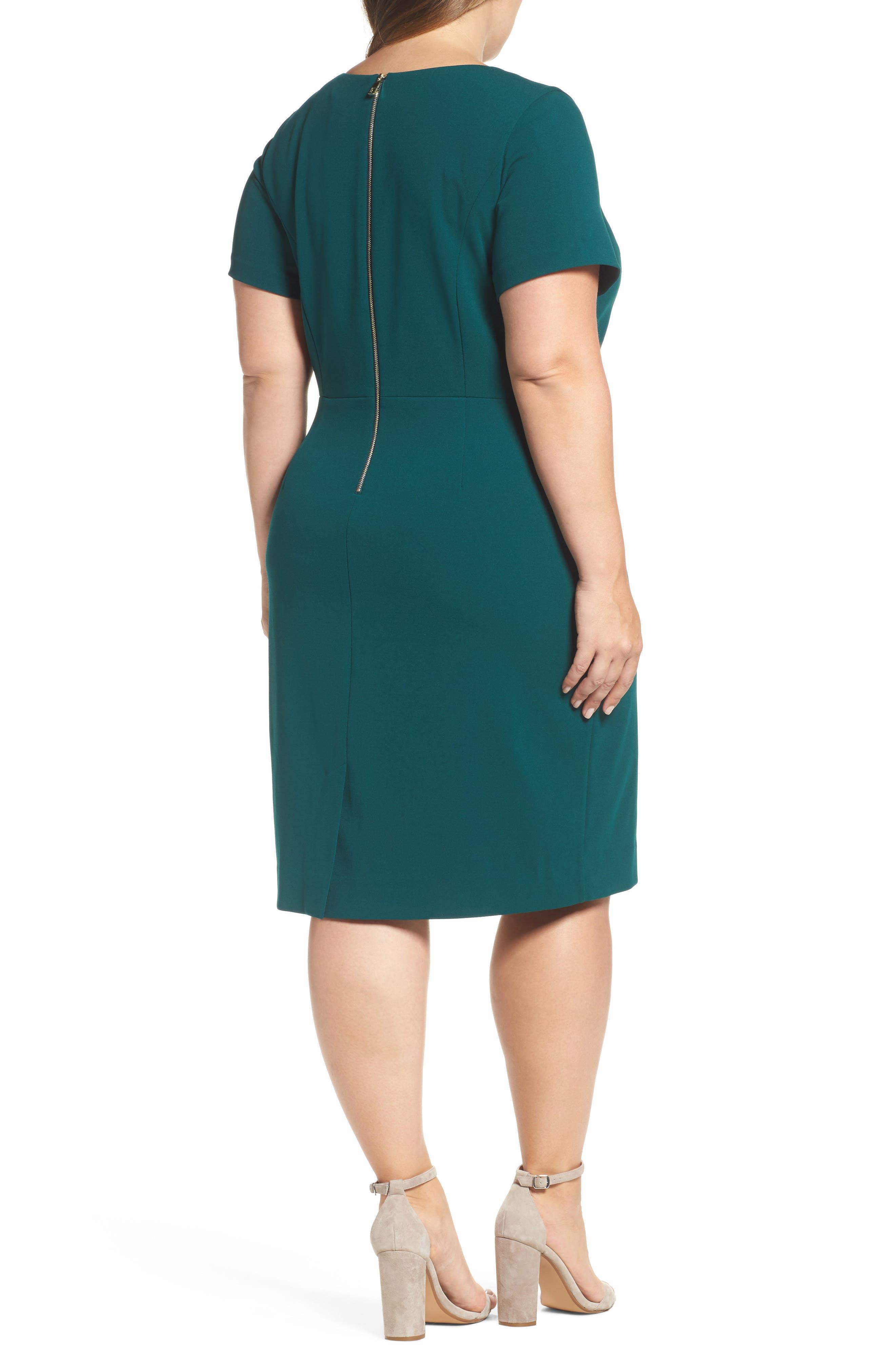 Scuba Crepe Sheath Dress,                             Alternate thumbnail 2, color,                             Dark Green