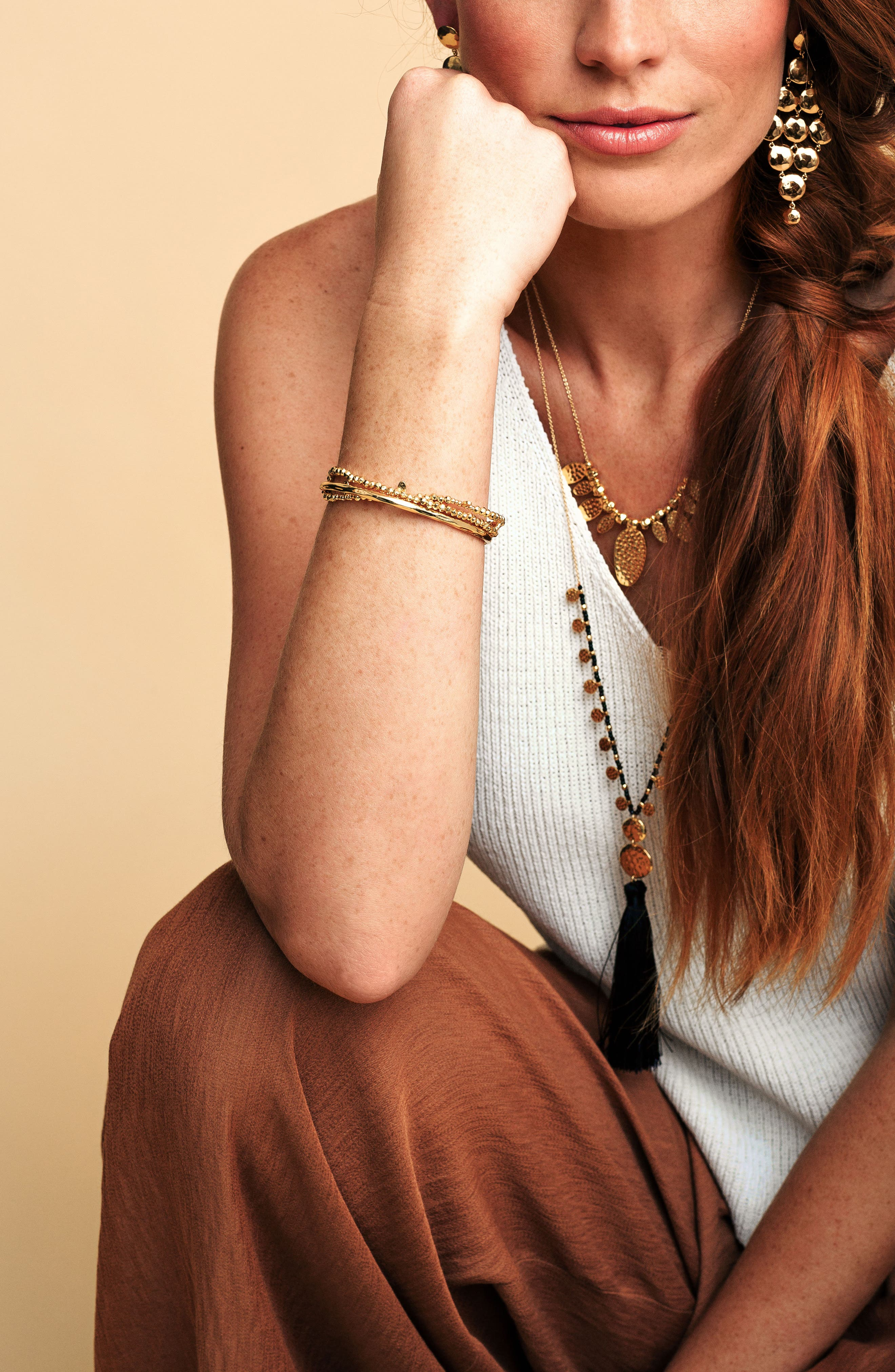Leucadia Beaded Bracelet,                             Alternate thumbnail 2, color,                             Gold