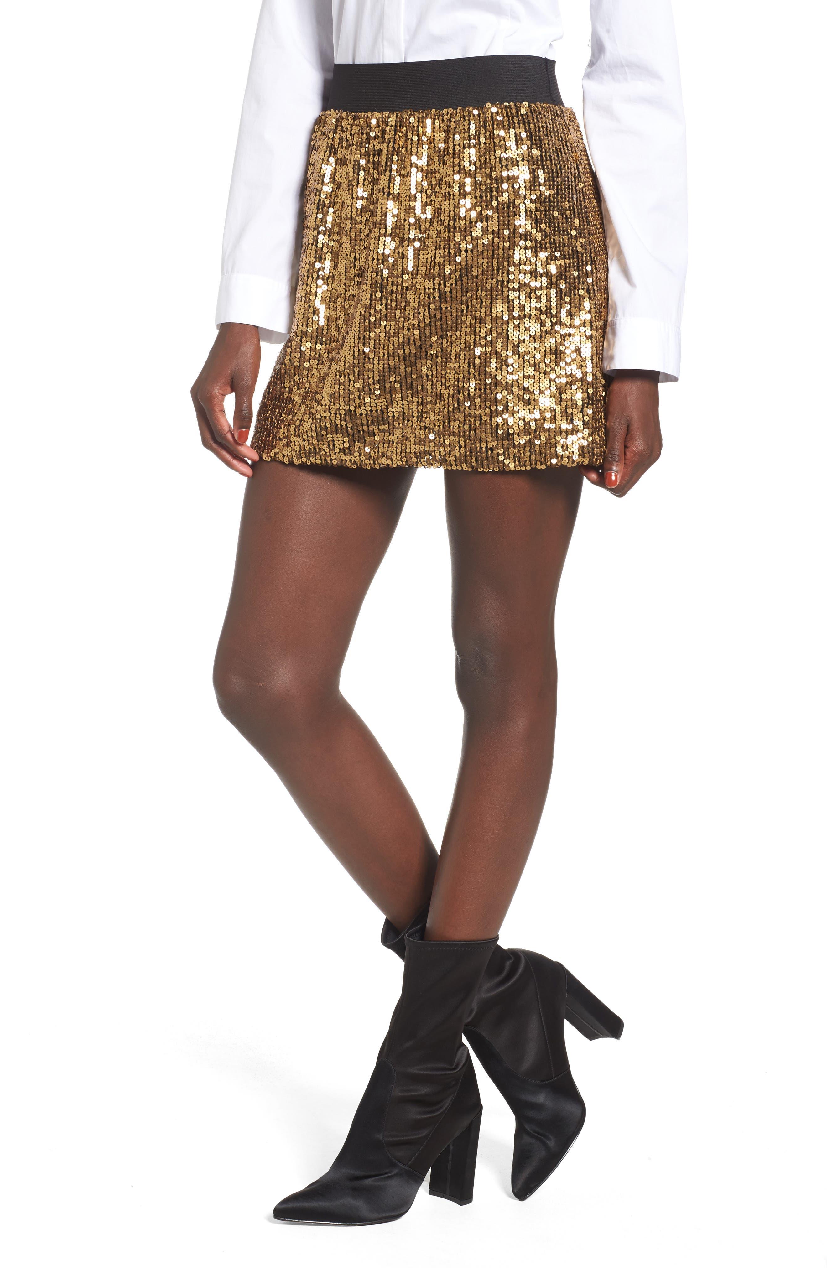 Sequin Miniskirt,                         Main,                         color, Metallic Gold