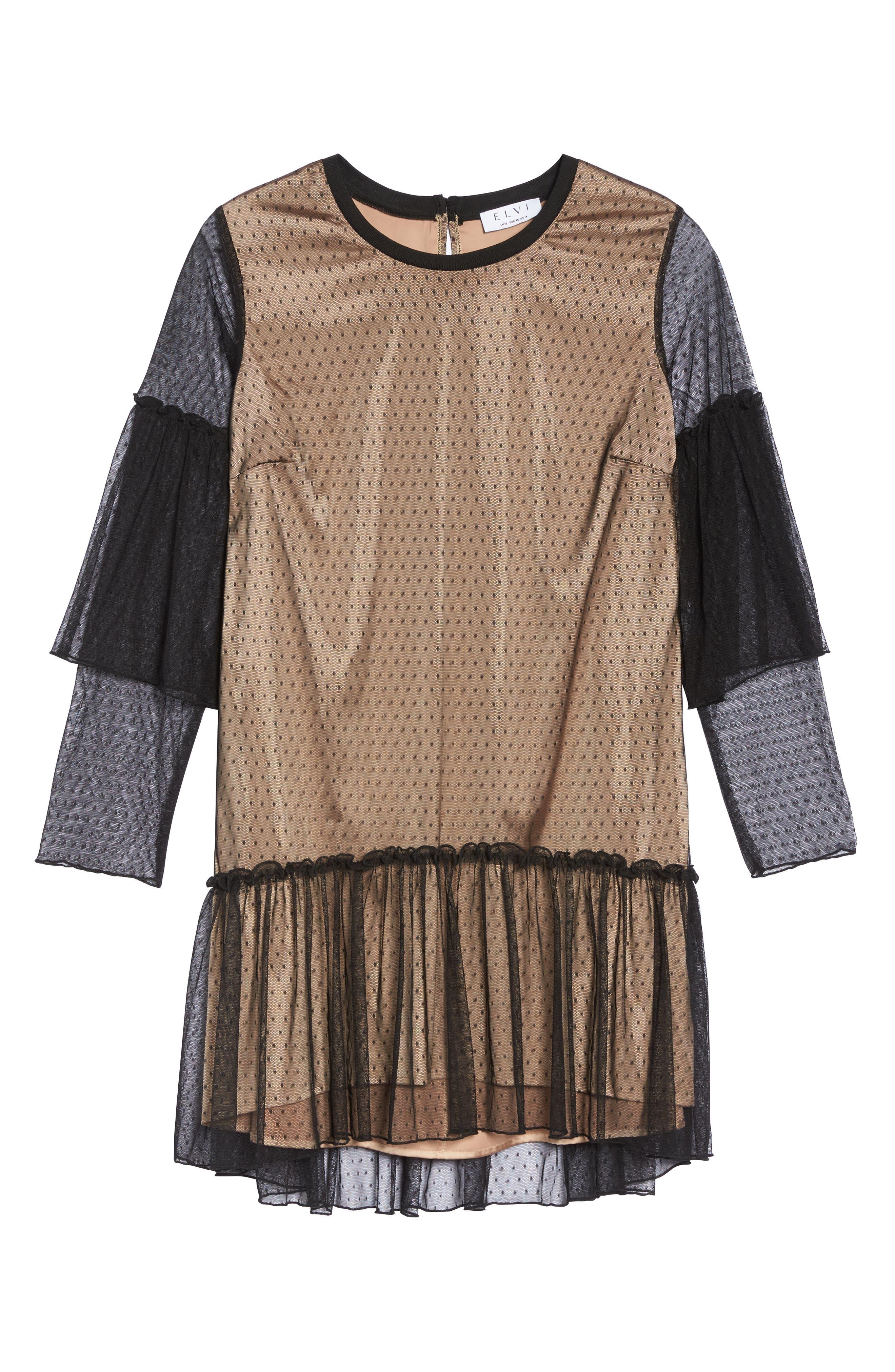 Polka Dot Net Shift Dress,                             Alternate thumbnail 6, color,                             Black