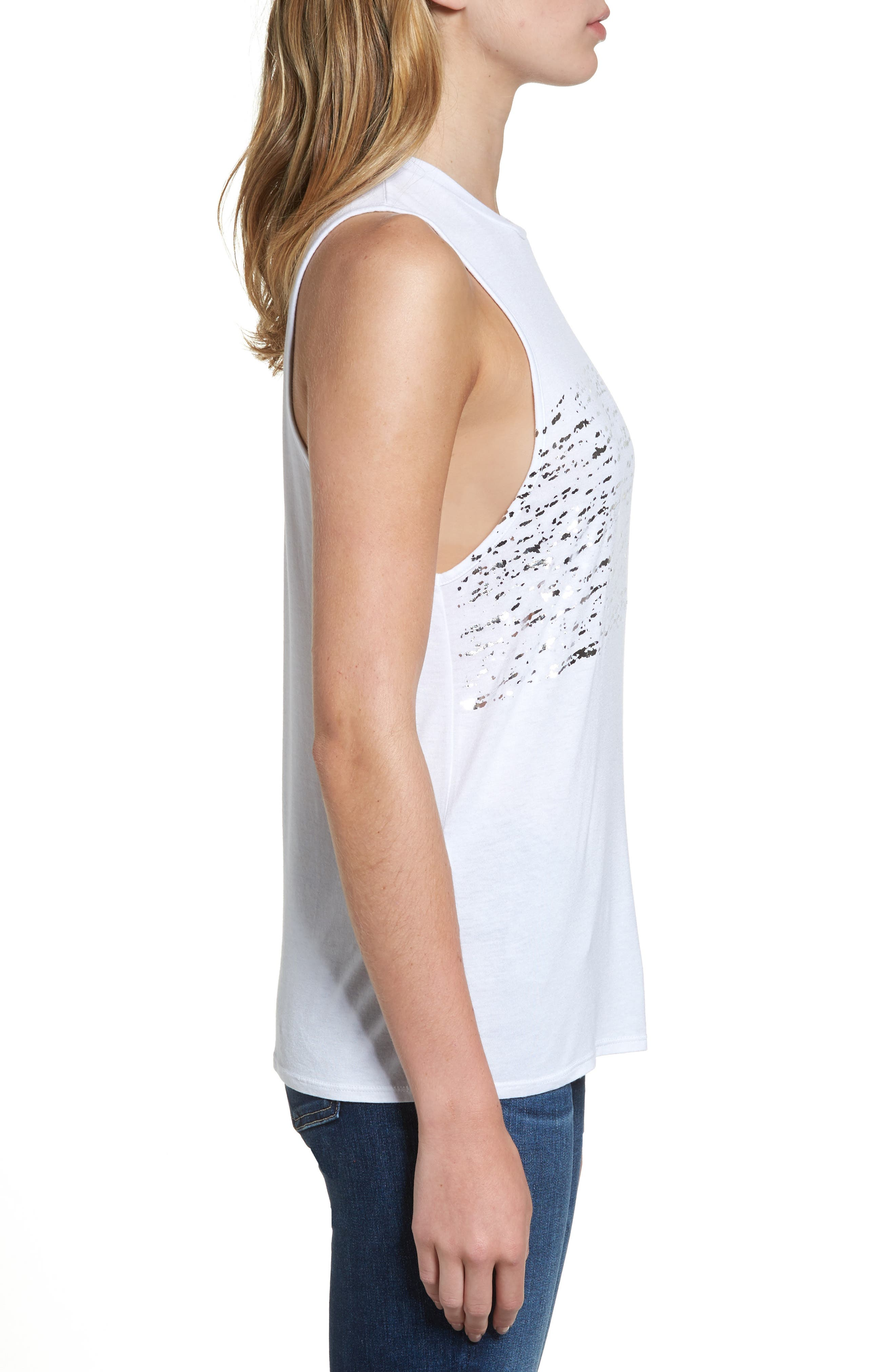 Clio Tank,                             Alternate thumbnail 3, color,                             Distressed Silver Foil/ White