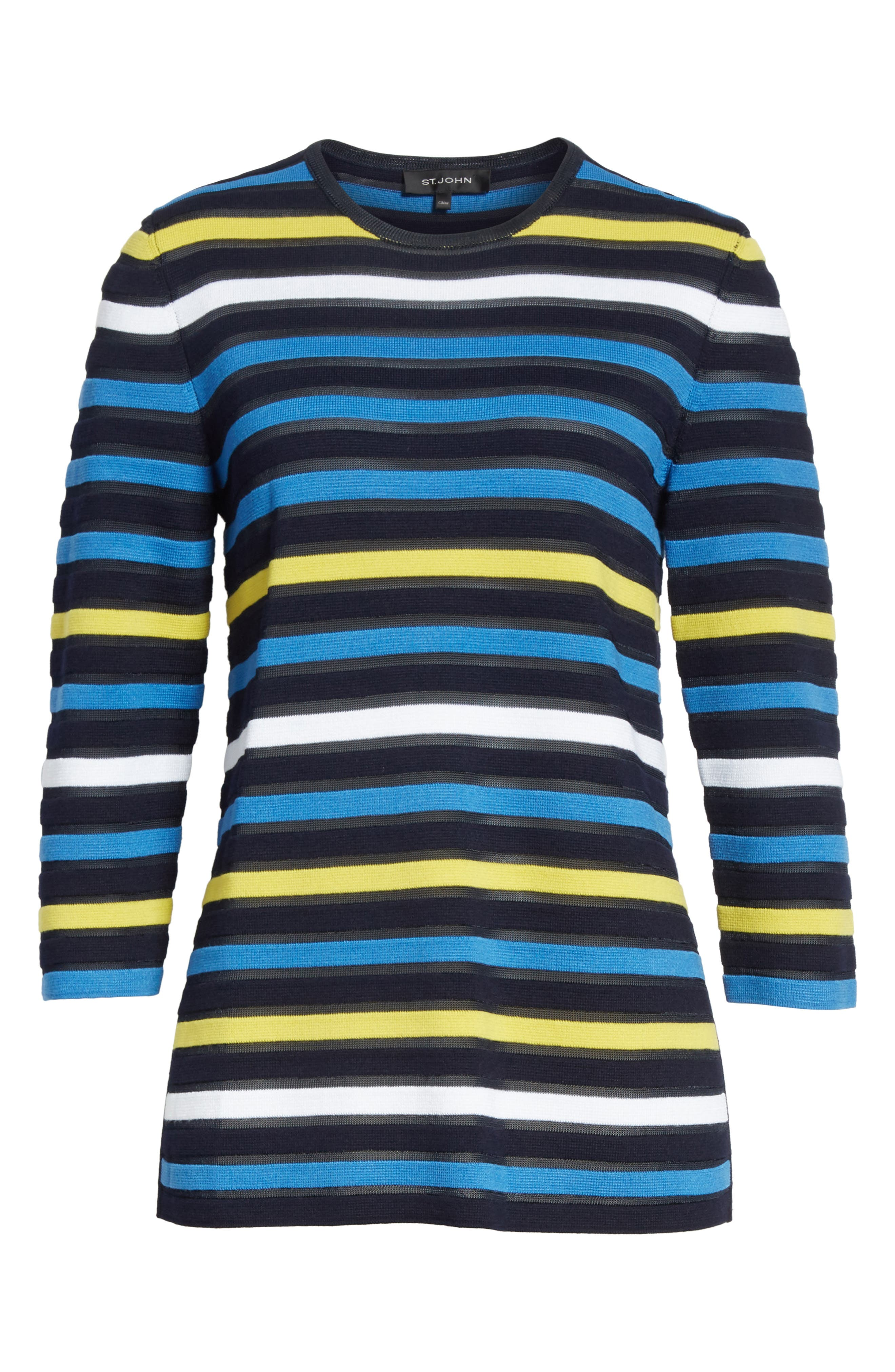 Ombré Stripe Sweater,                             Alternate thumbnail 6, color,                             Navy Multi