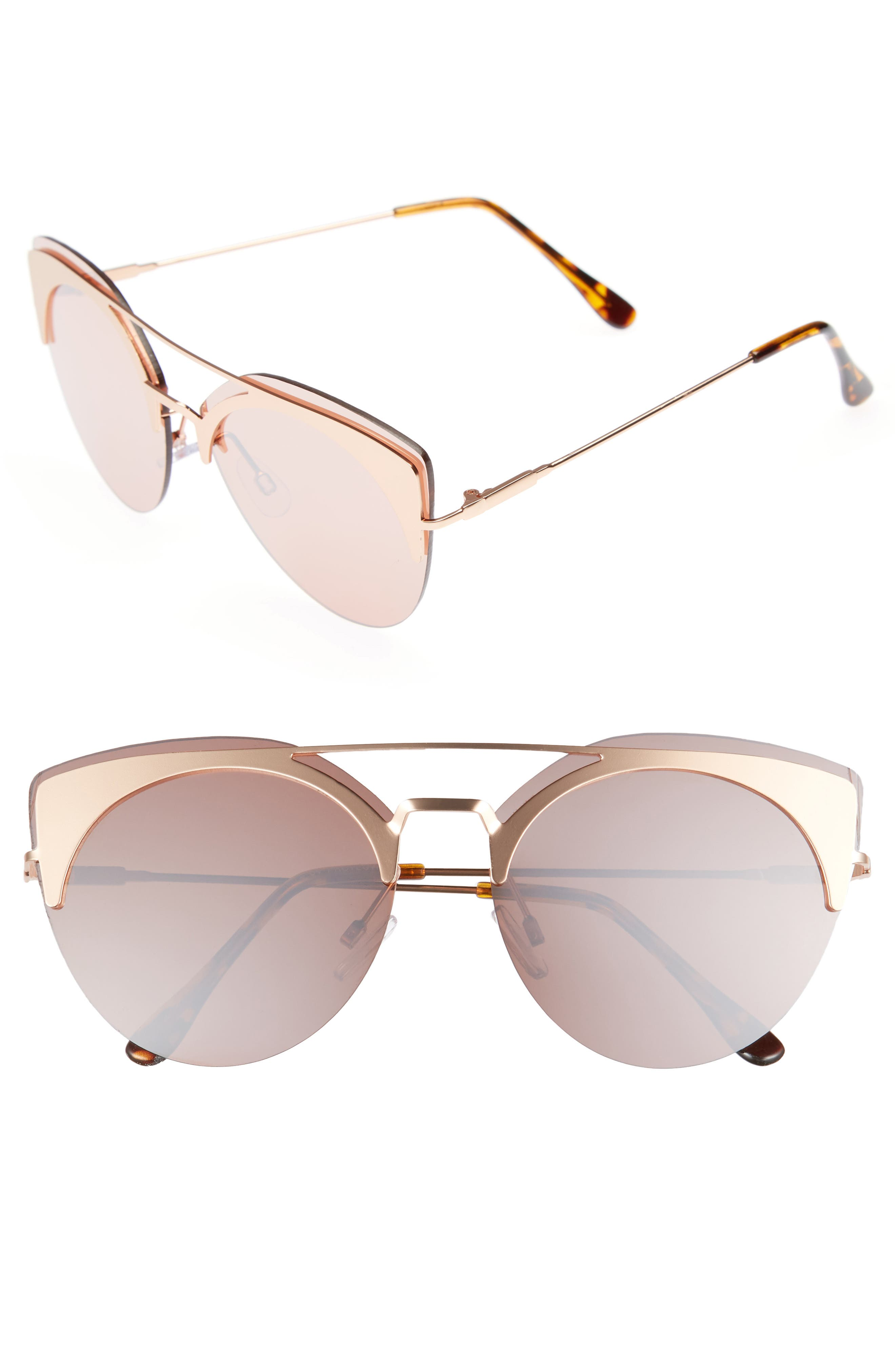 54mm Round Sunglasses,                         Main,                         color, Gold/ Brown