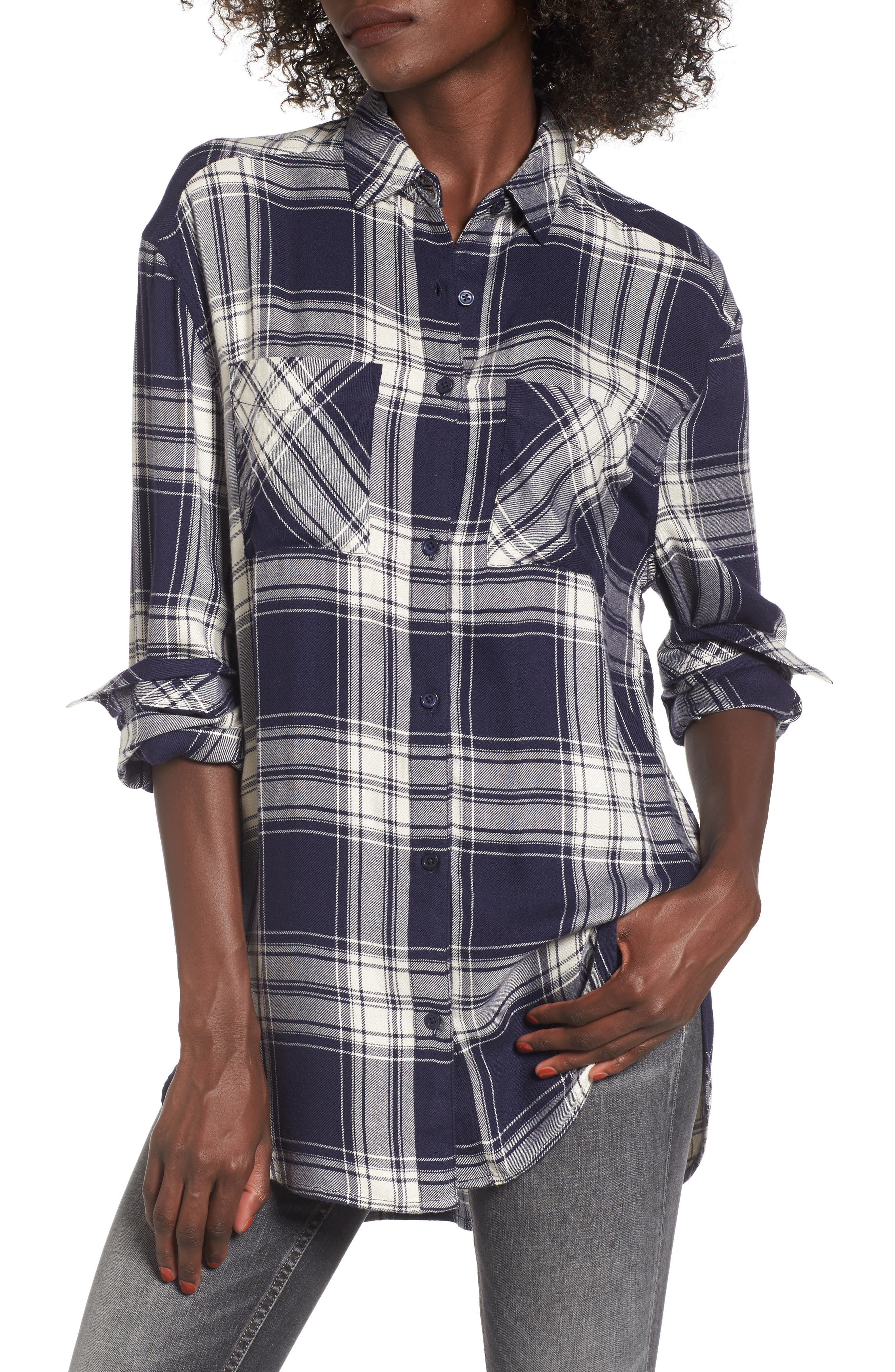 Oversize Flannel Shirt,                         Main,                         color, Navy Peacoat Rose Plaid
