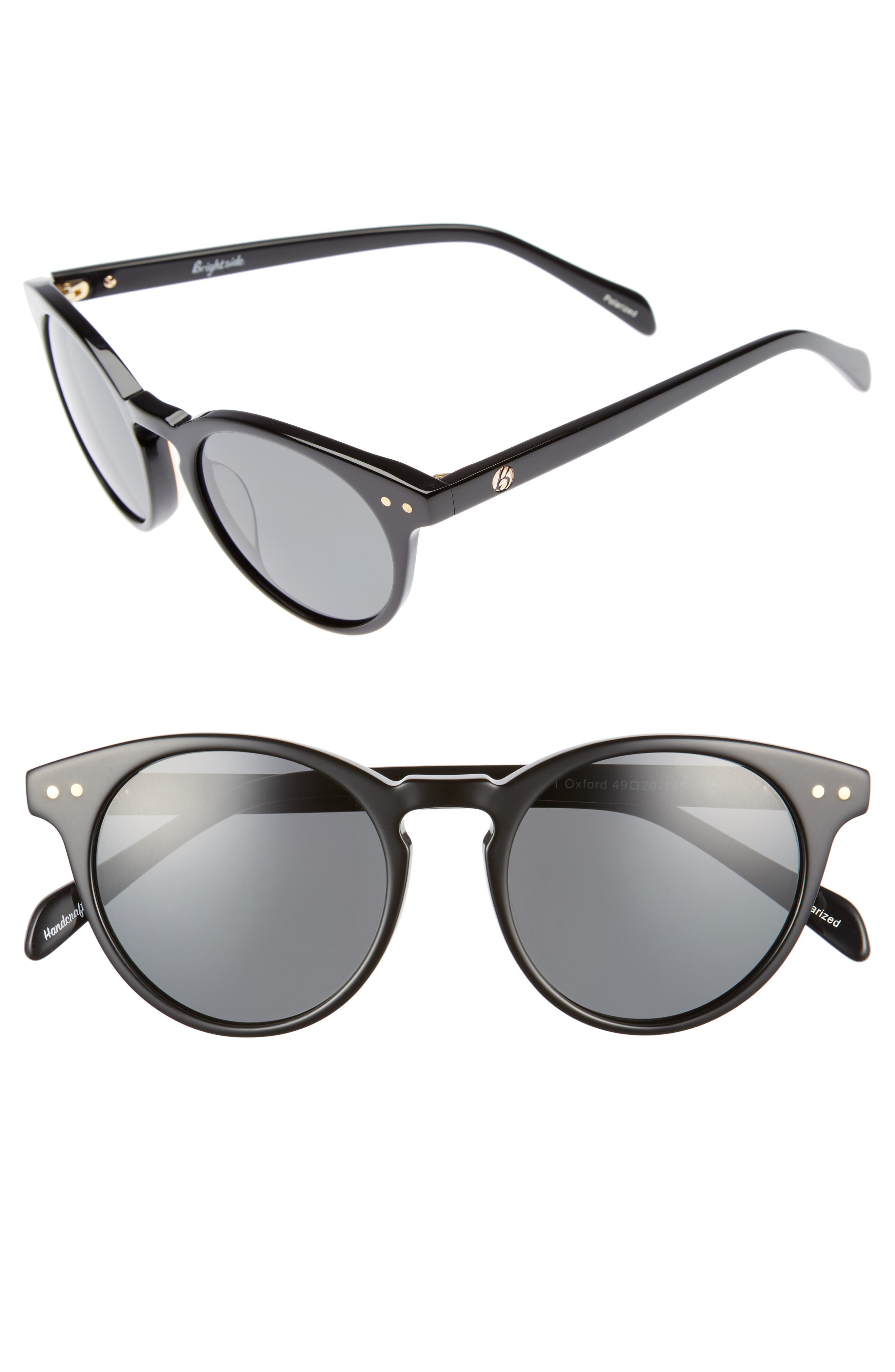 Oxford 49mm Polarized Sunglasses,                             Main thumbnail 1, color,                             Black/ Grey Polar