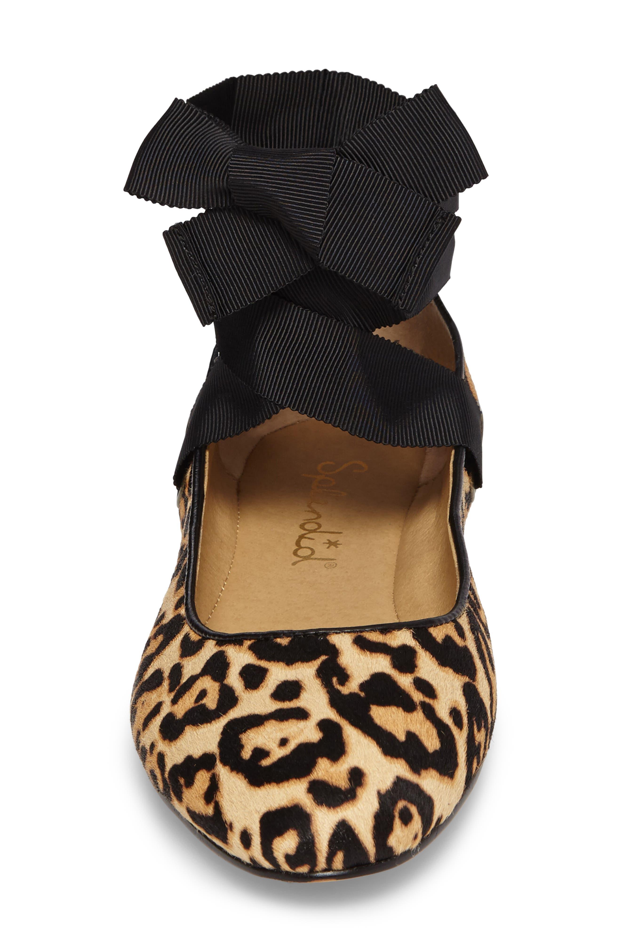 Renee II Genuine Calf Hair Ankle Tie Flat,                             Alternate thumbnail 4, color,                             Leopard Calf Hair