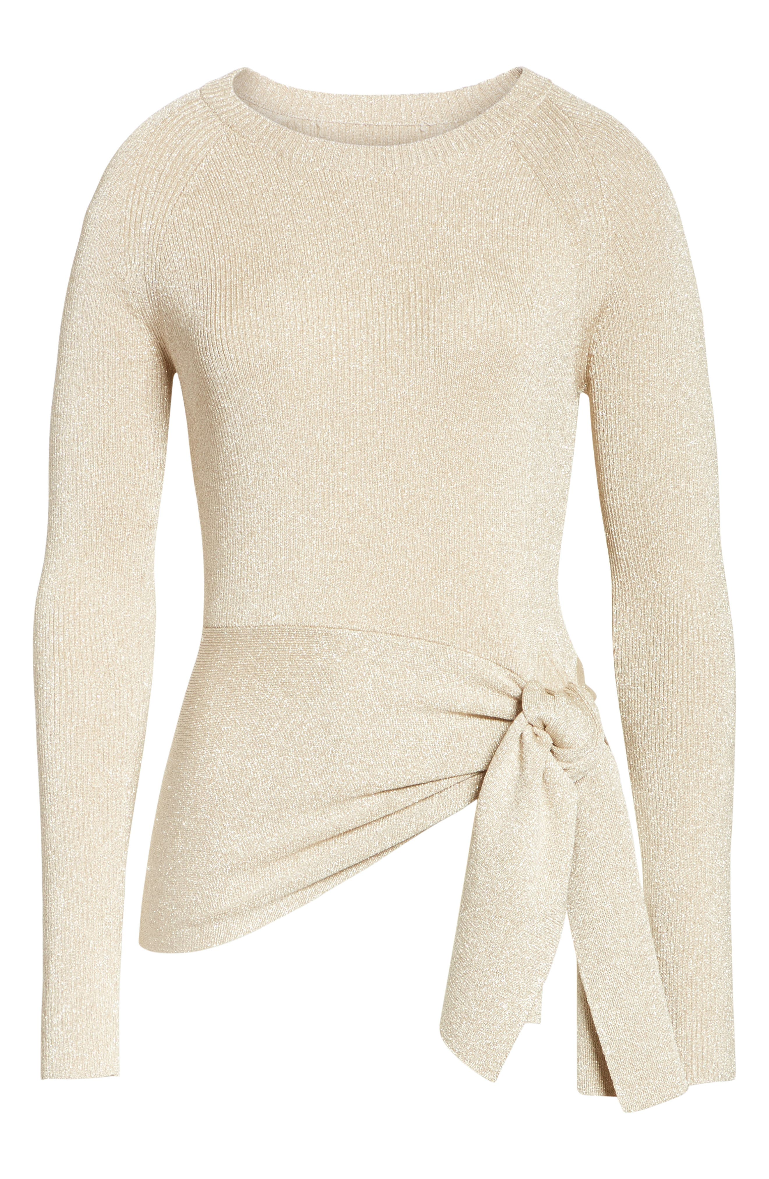 Metallic Side Tie Sweater,                             Alternate thumbnail 6, color,                             Gold