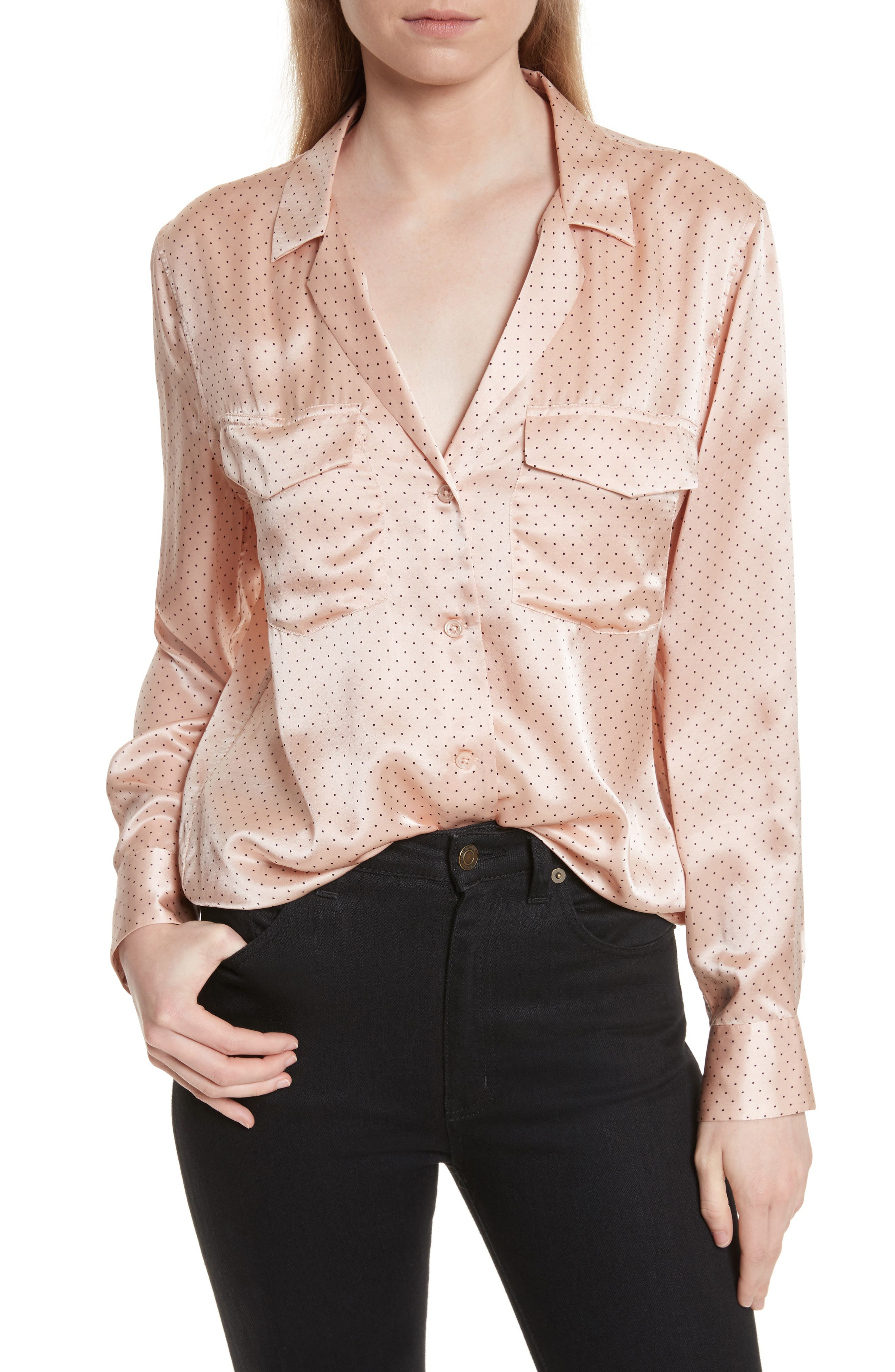 Ansley Dot Silk Shirt,                         Main,                         color, French Nude/ True Black
