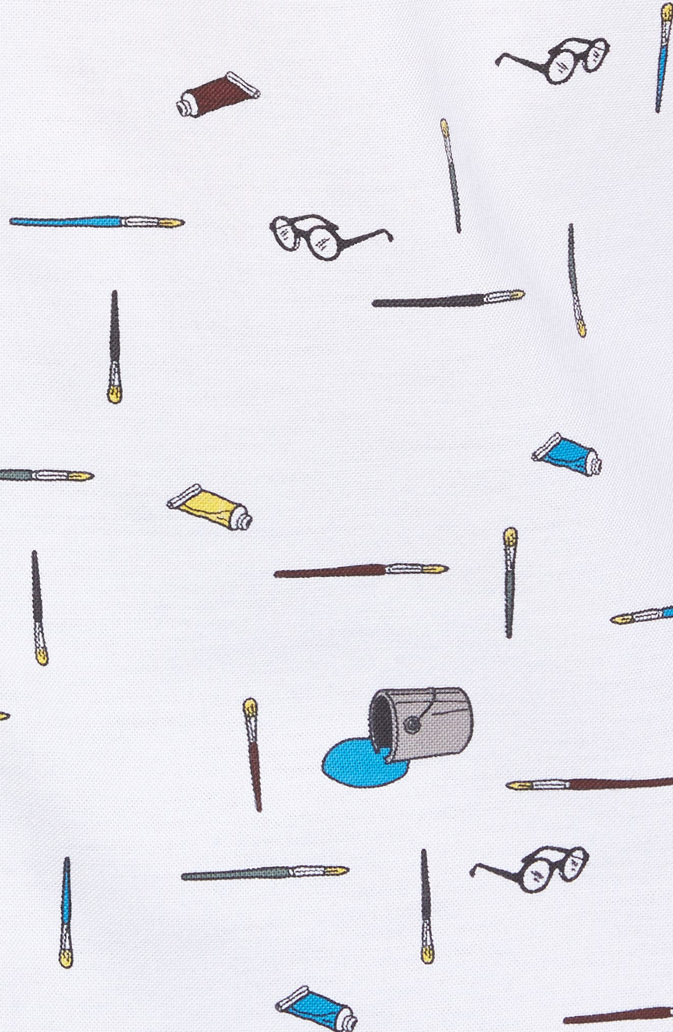 Paintbrush Pattern Woven Shirt,                             Alternate thumbnail 5, color,                             Bright White