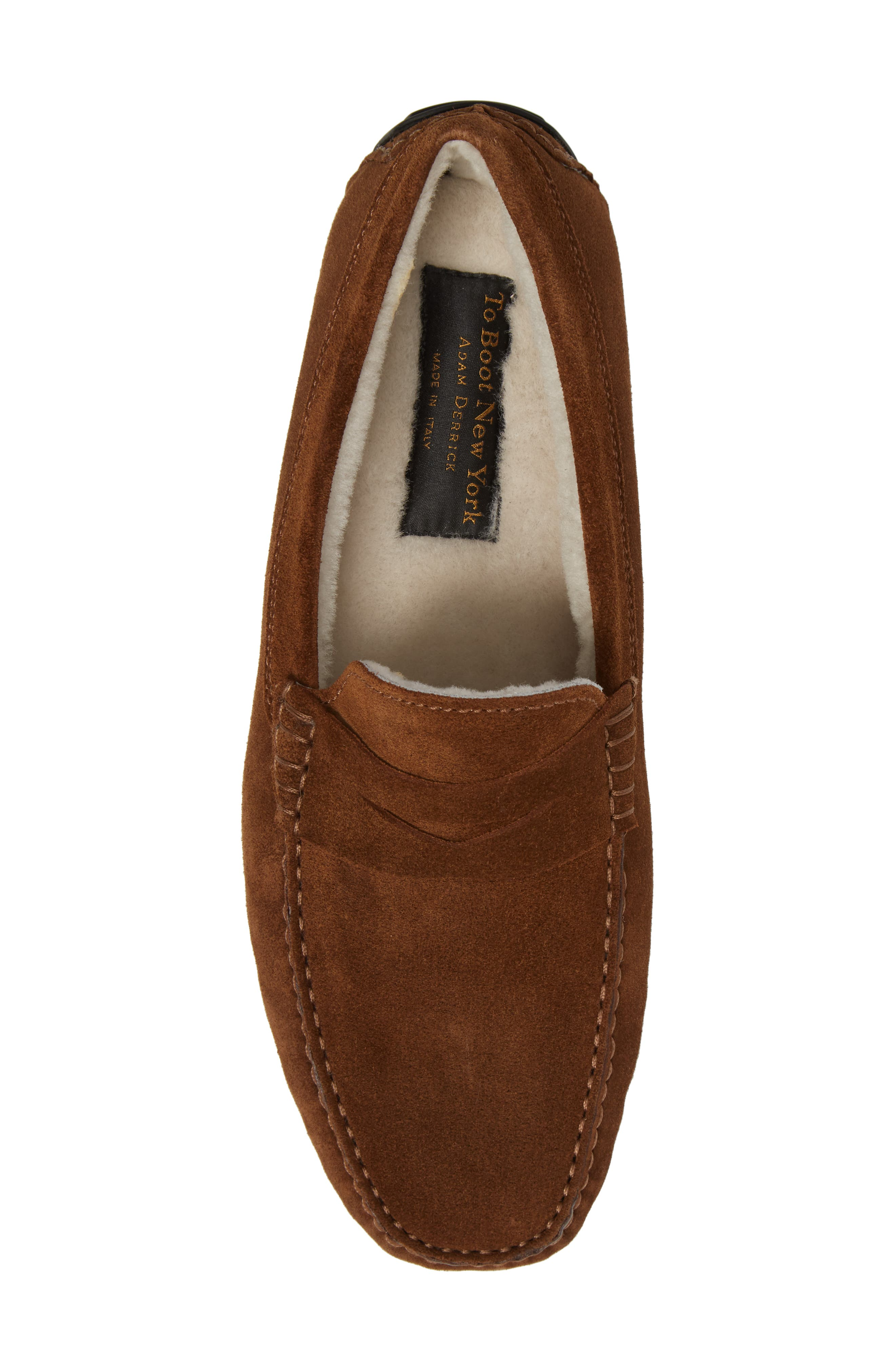 Norse Penny Loafer with Genuine Shearling,                             Alternate thumbnail 5, color,                             Brown/ Brown Suede Leather