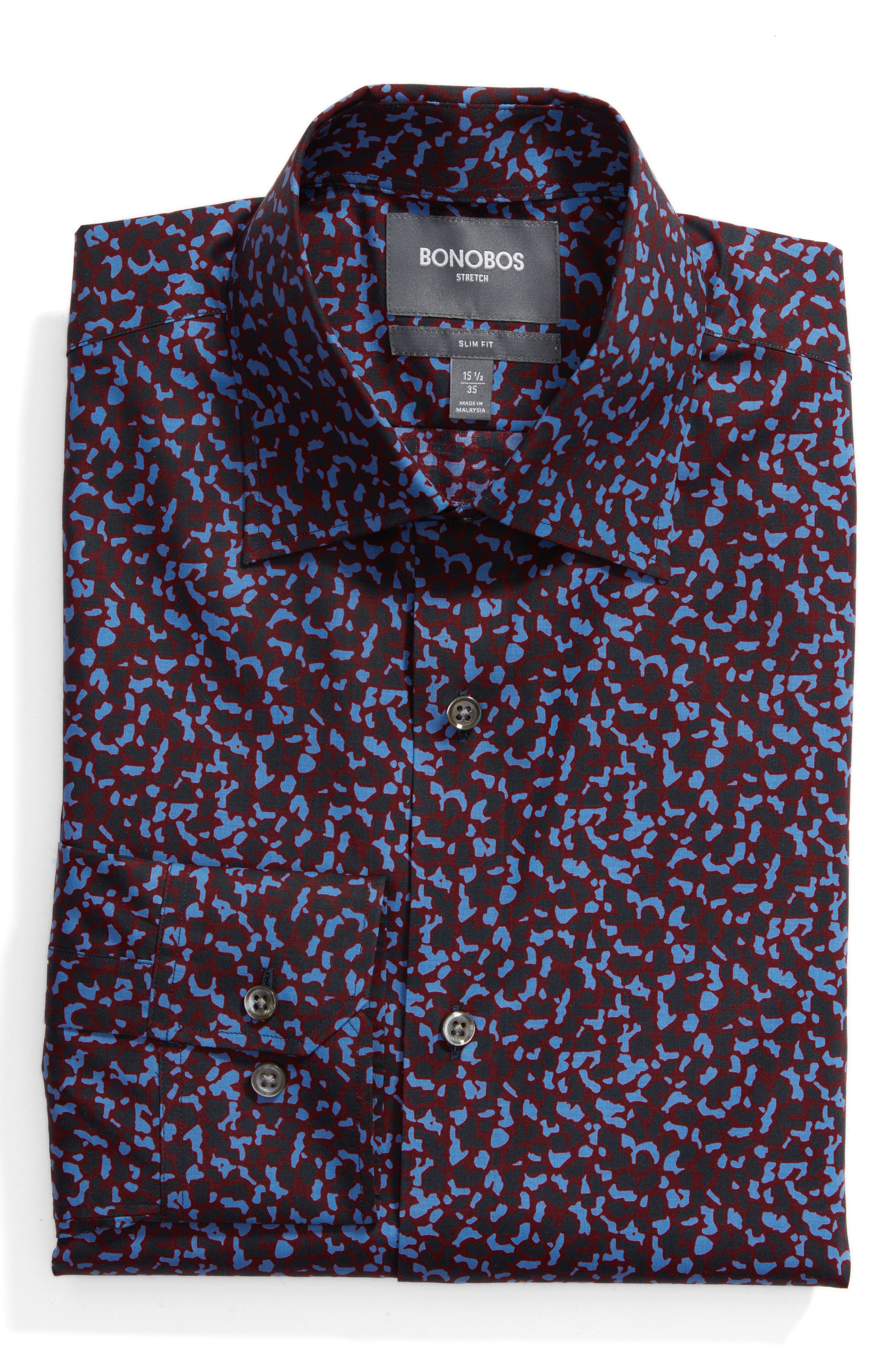 Slim Fit Cheetah Print Dress Shirt,                         Main,                         color, Red
