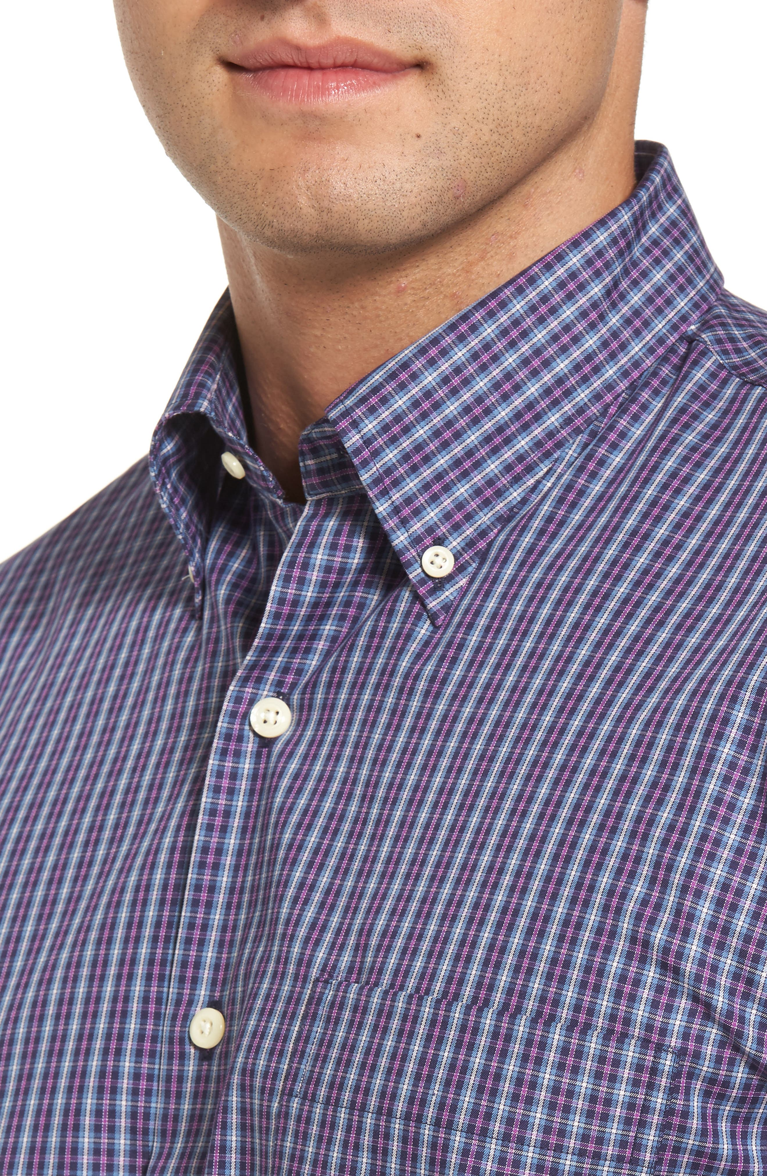 Hillock Regular Fit Plaid Sport Shirt,                             Alternate thumbnail 3, color,                             Moon Blue