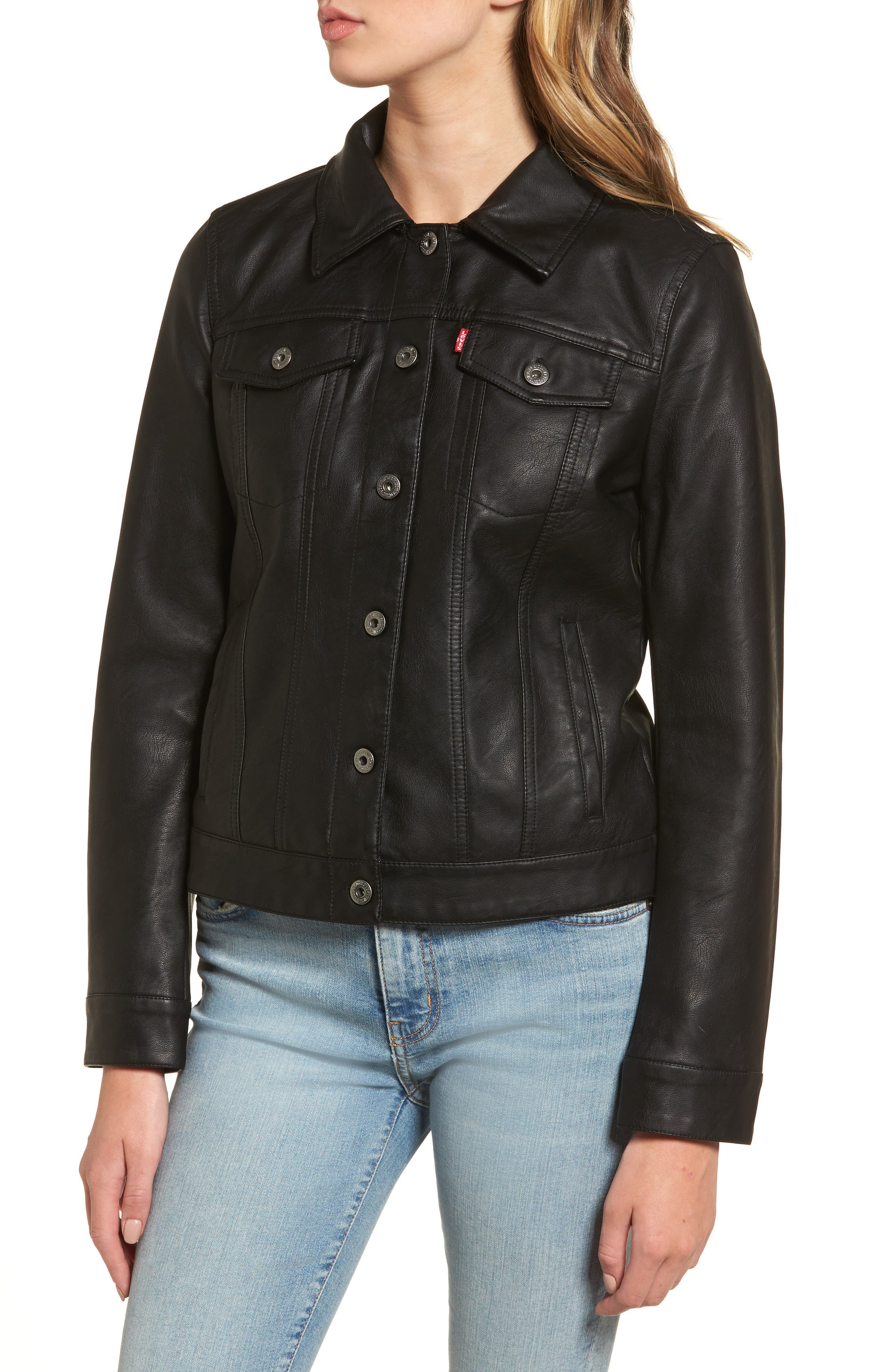 Faux Leather Jacket with Detachable Faux Fur,                             Alternate thumbnail 4, color,                             Black