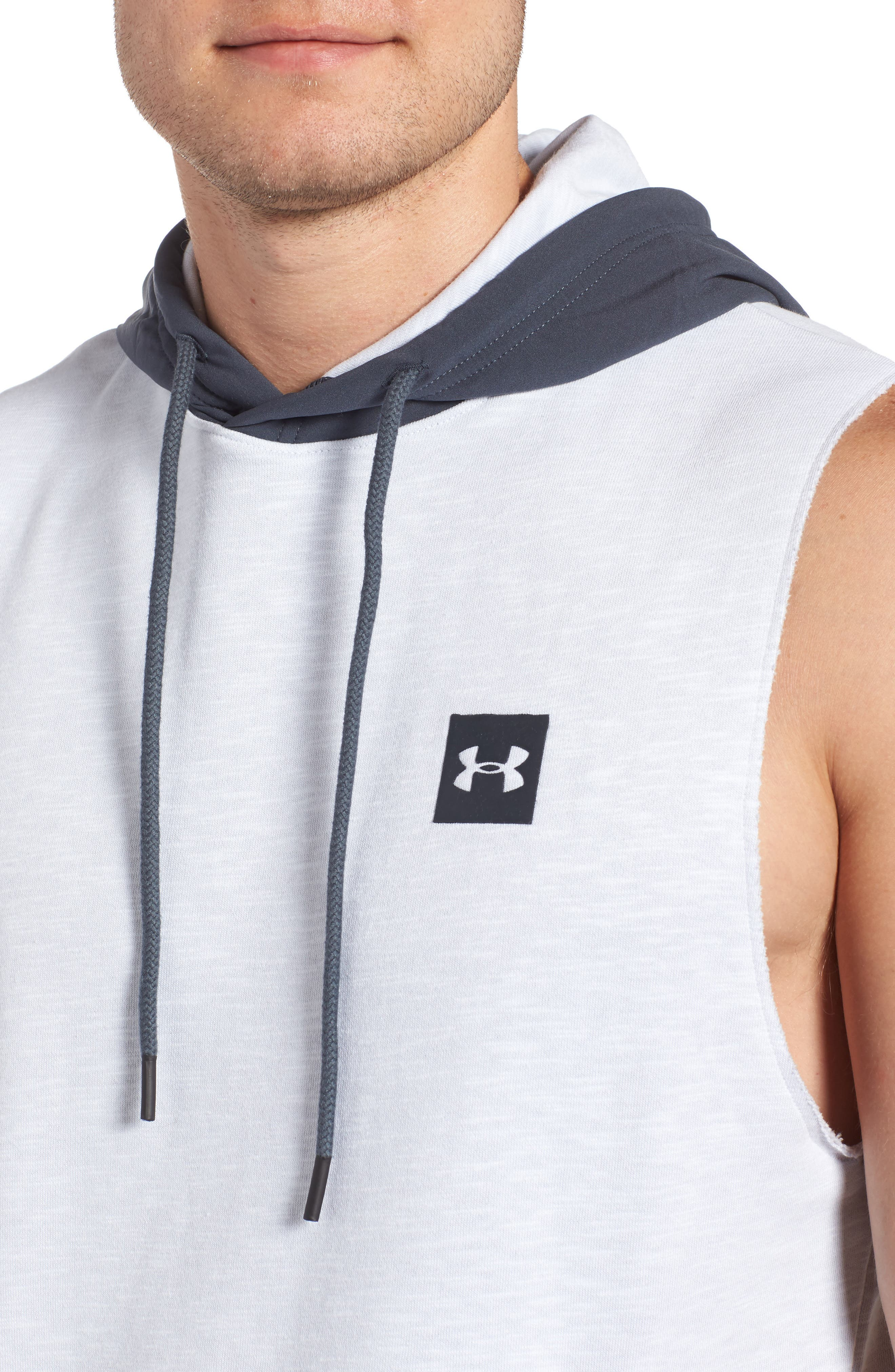Sportstyle Sleeveless Hoodie,                             Alternate thumbnail 4, color,                             White / Stealth Gray