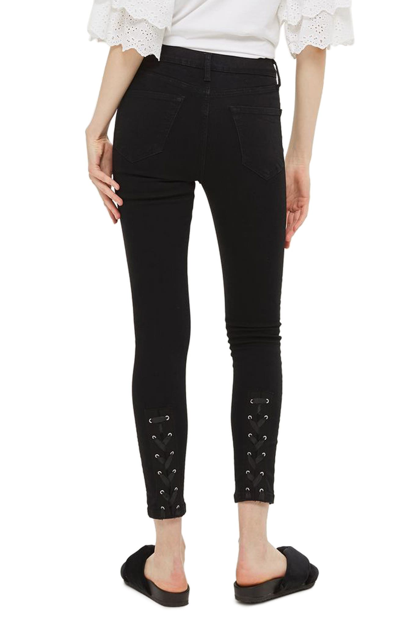 Jamie Lace-Up Fly Skinny Jeans,                             Alternate thumbnail 2, color,                             Black