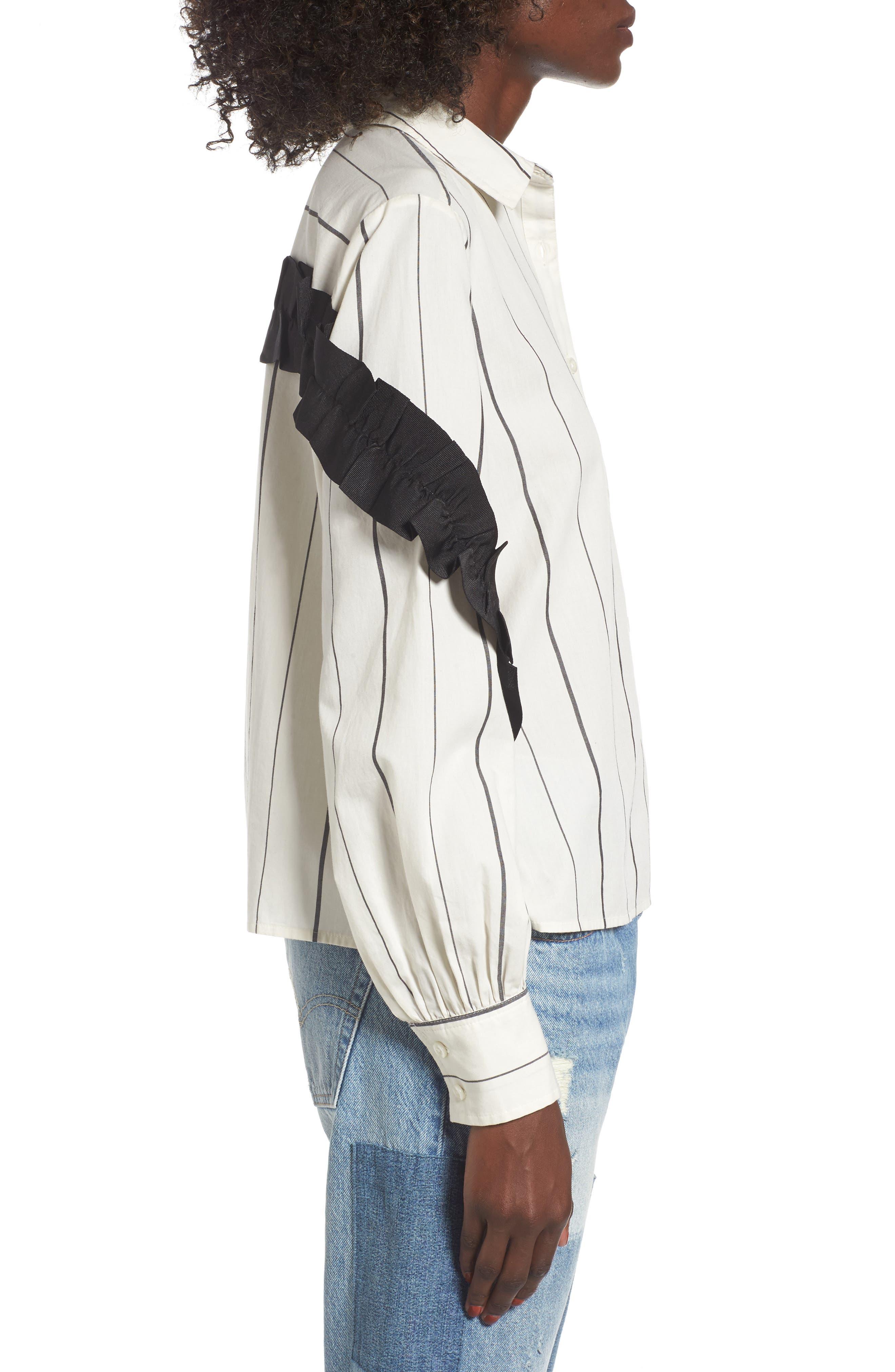 Grosgrain Ruffle Stripe Shirt,                             Alternate thumbnail 3, color,                             Ivory Egret Finn Stripe