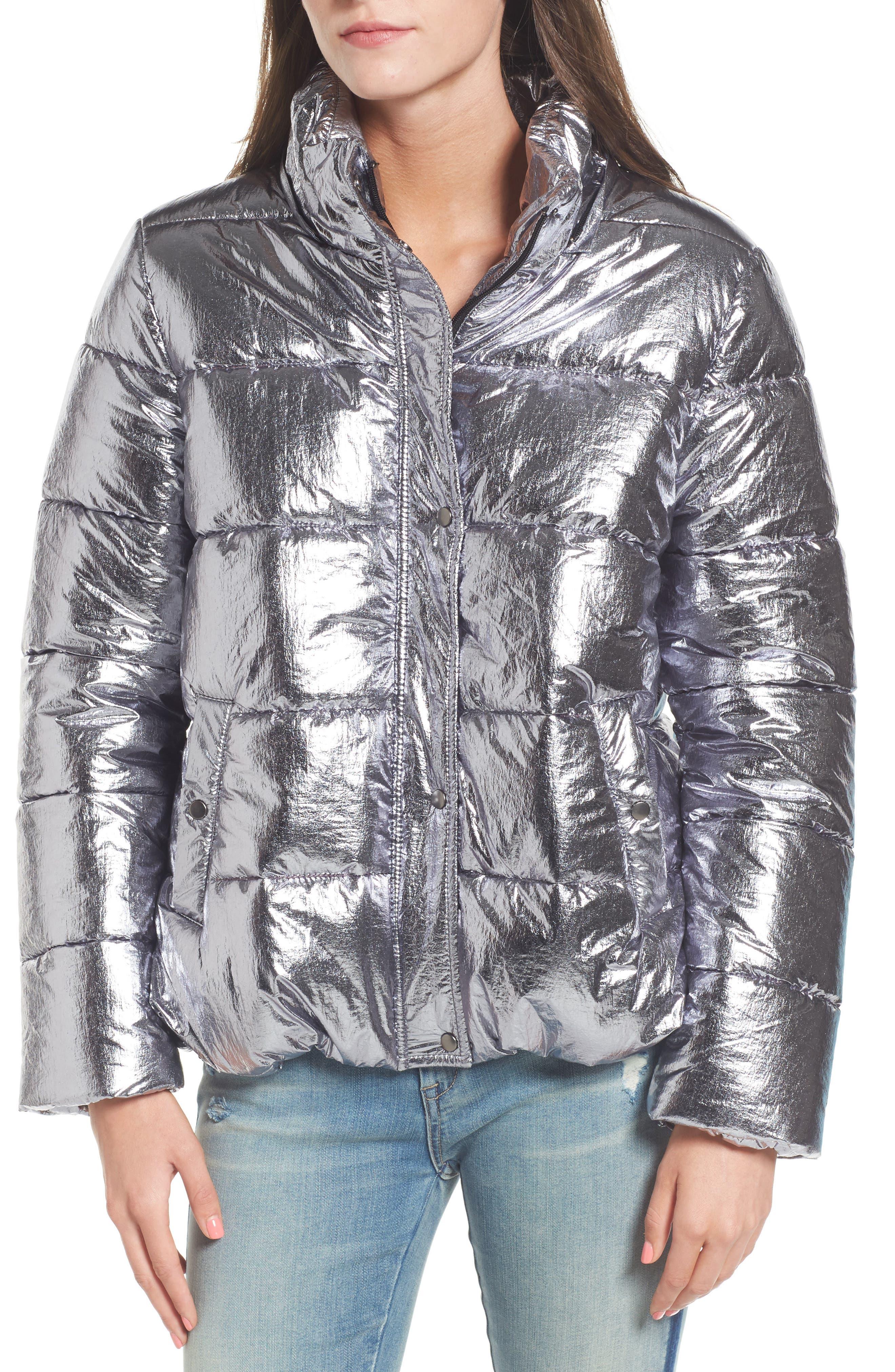 Short Puffer Jacket,                             Alternate thumbnail 5, color,                             Silver