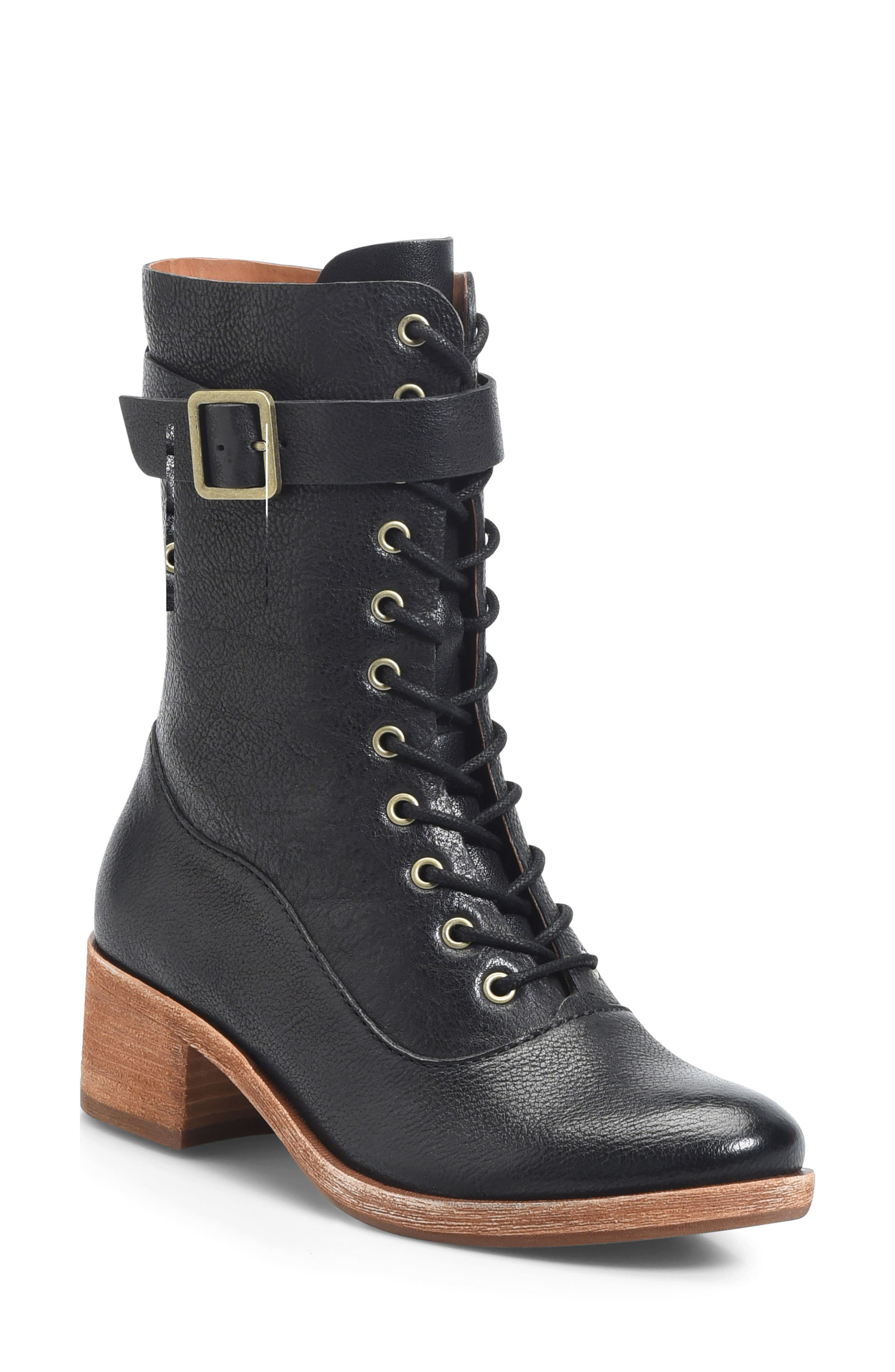 Mona Lace-Up Boot,                             Main thumbnail 1, color,                             Black Leather