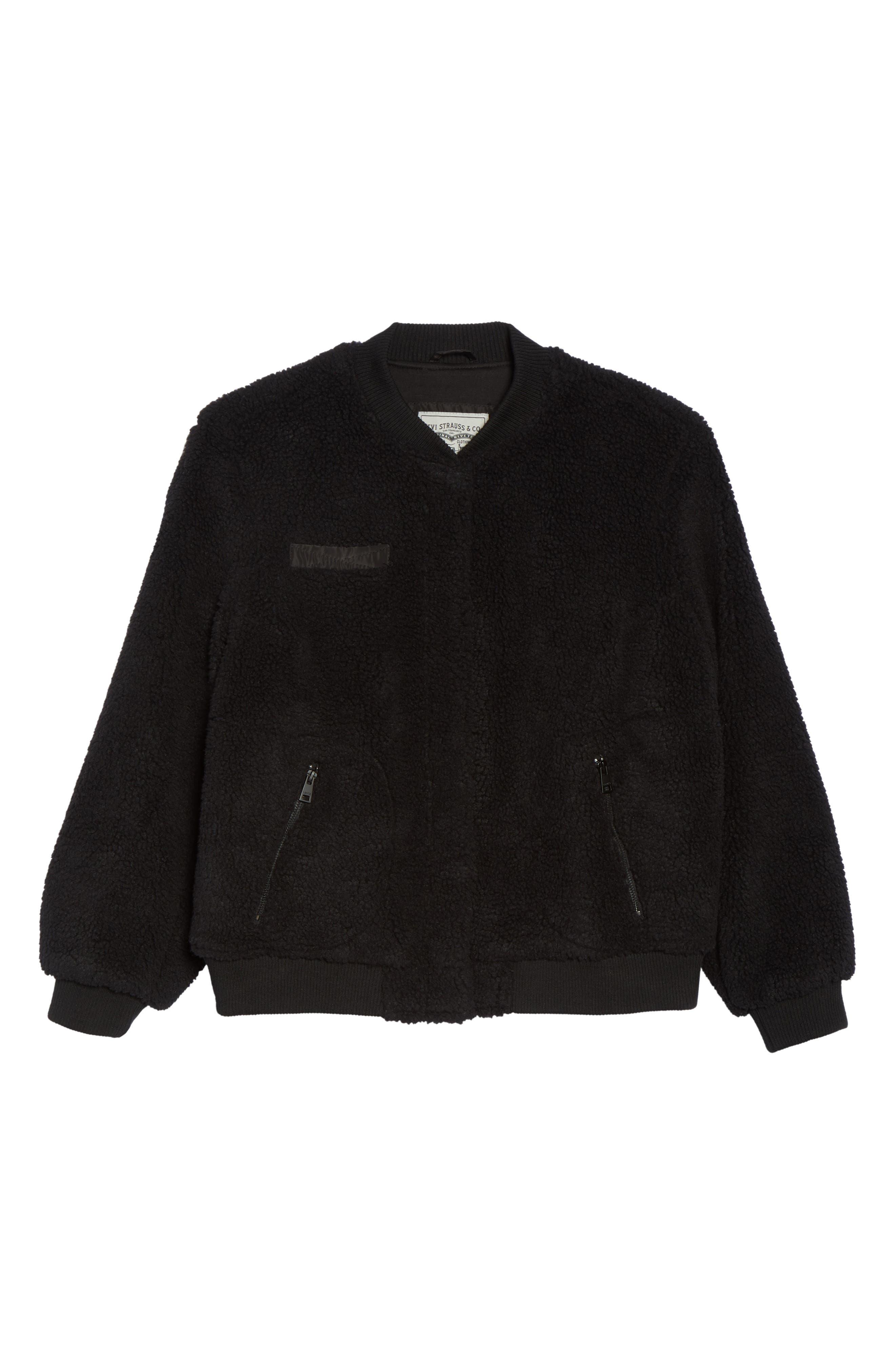 Rib Knit Fleece Bomber Jacket,                             Alternate thumbnail 6, color,                             Black