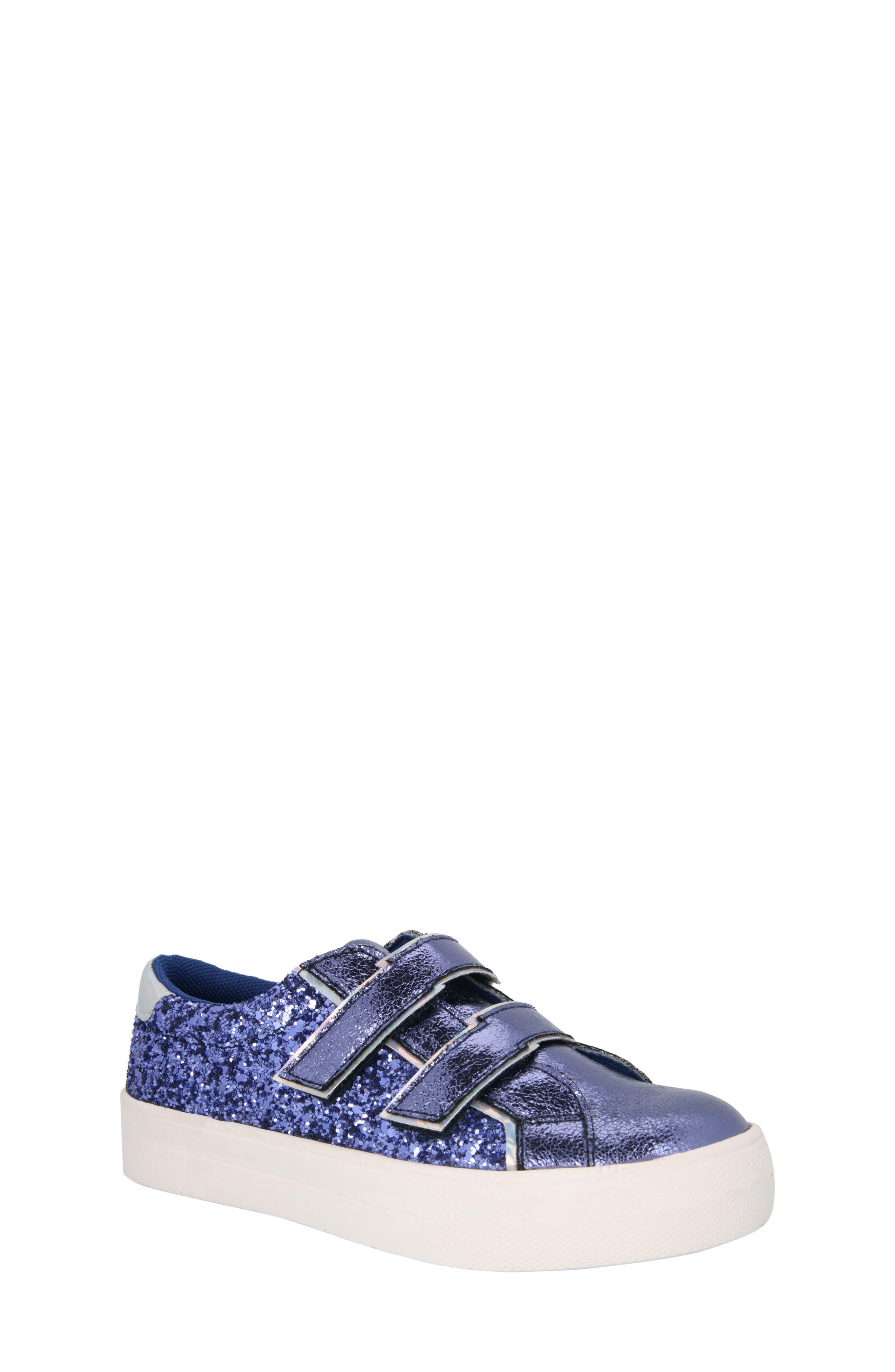 Ashley Glittery Metallic Sneaker,                         Main,                         color, Cobalt Metallic/ Glitter