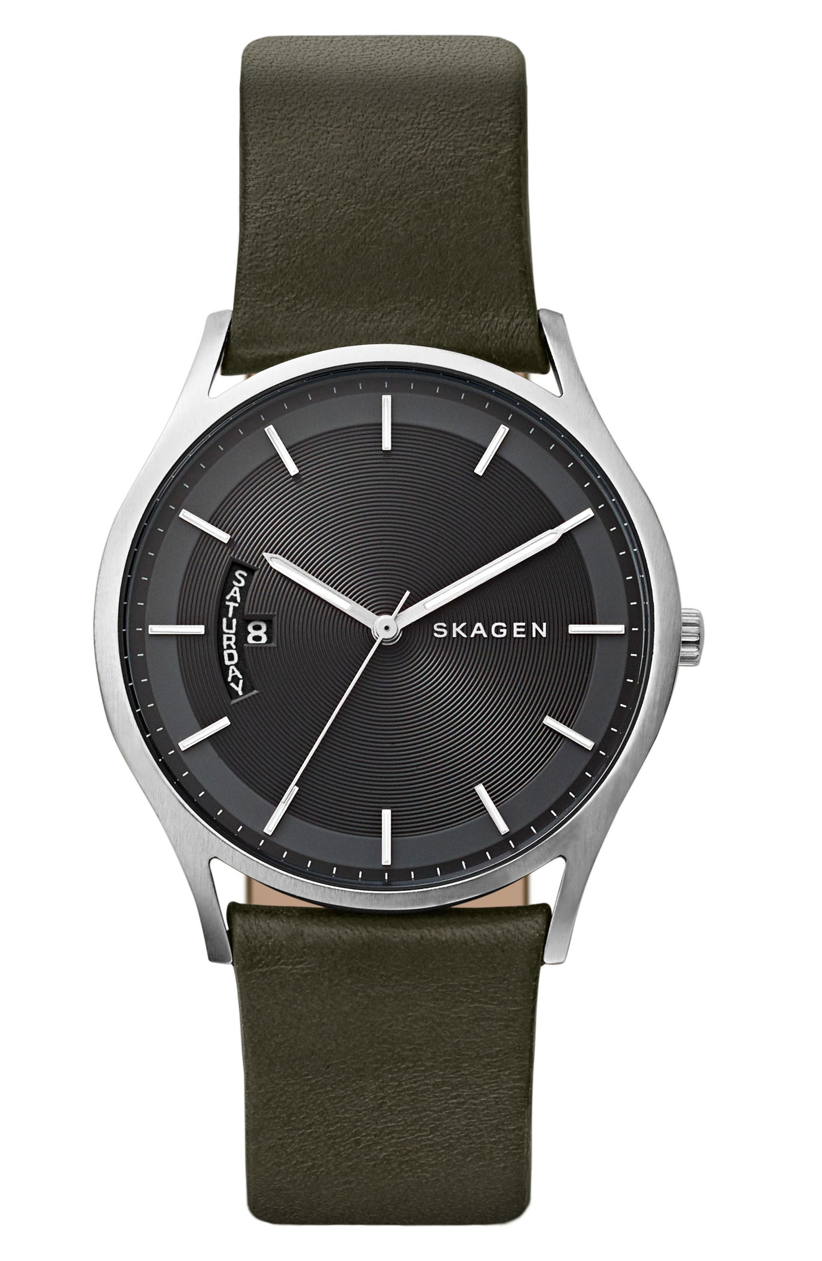Holst Leather Strap Watch, 40mm,                         Main,                         color, Green/ Black/ Silver