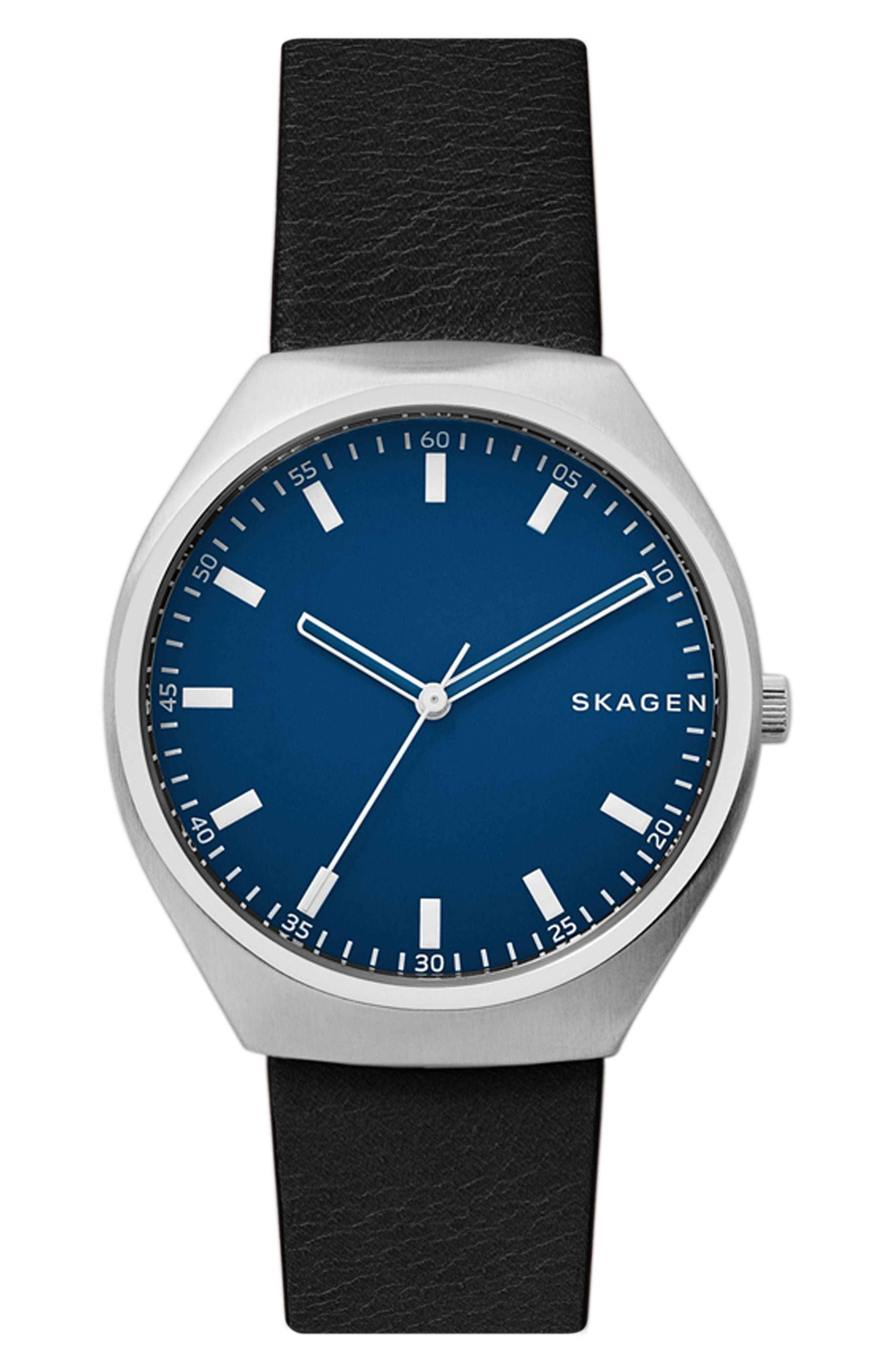 Skagen Grenen Leather Strap Watch, 40mm