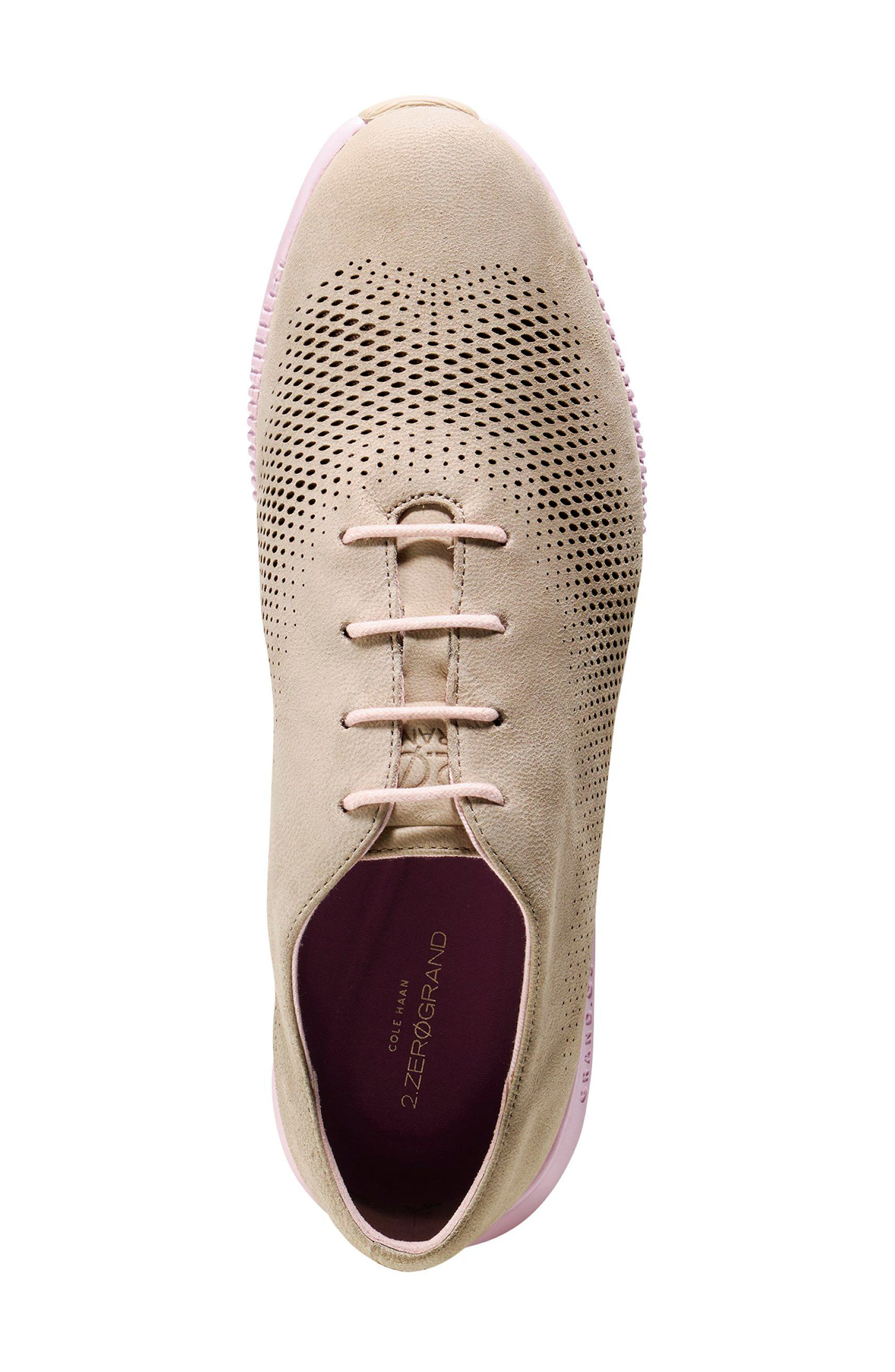'ZeroGrand' Perforated Wingtip,                             Alternate thumbnail 4, color,                             Barley/ Pale Lilac Nubuck