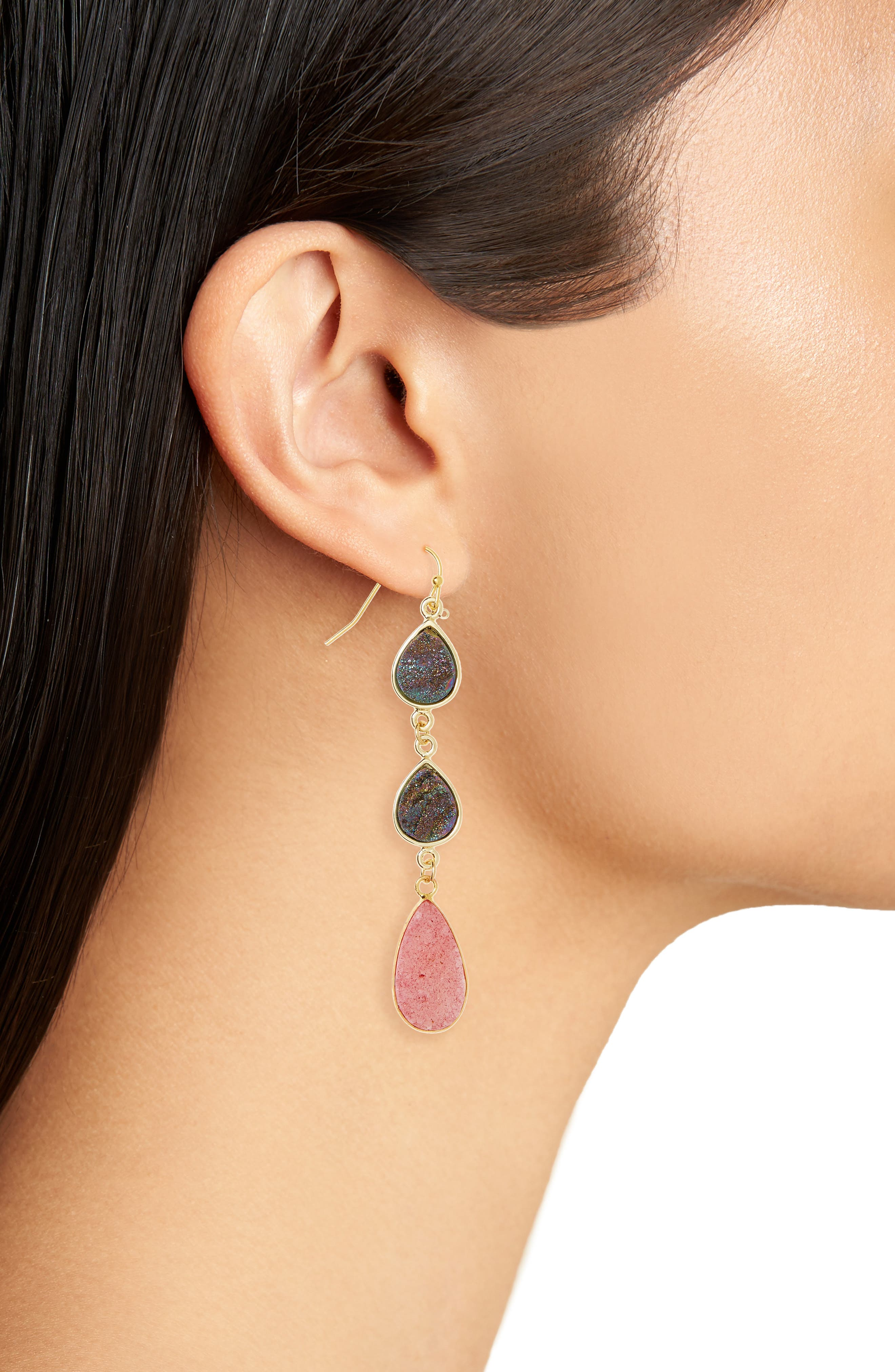 Drusy Linear Earrings,                             Alternate thumbnail 2, color,                             Pink