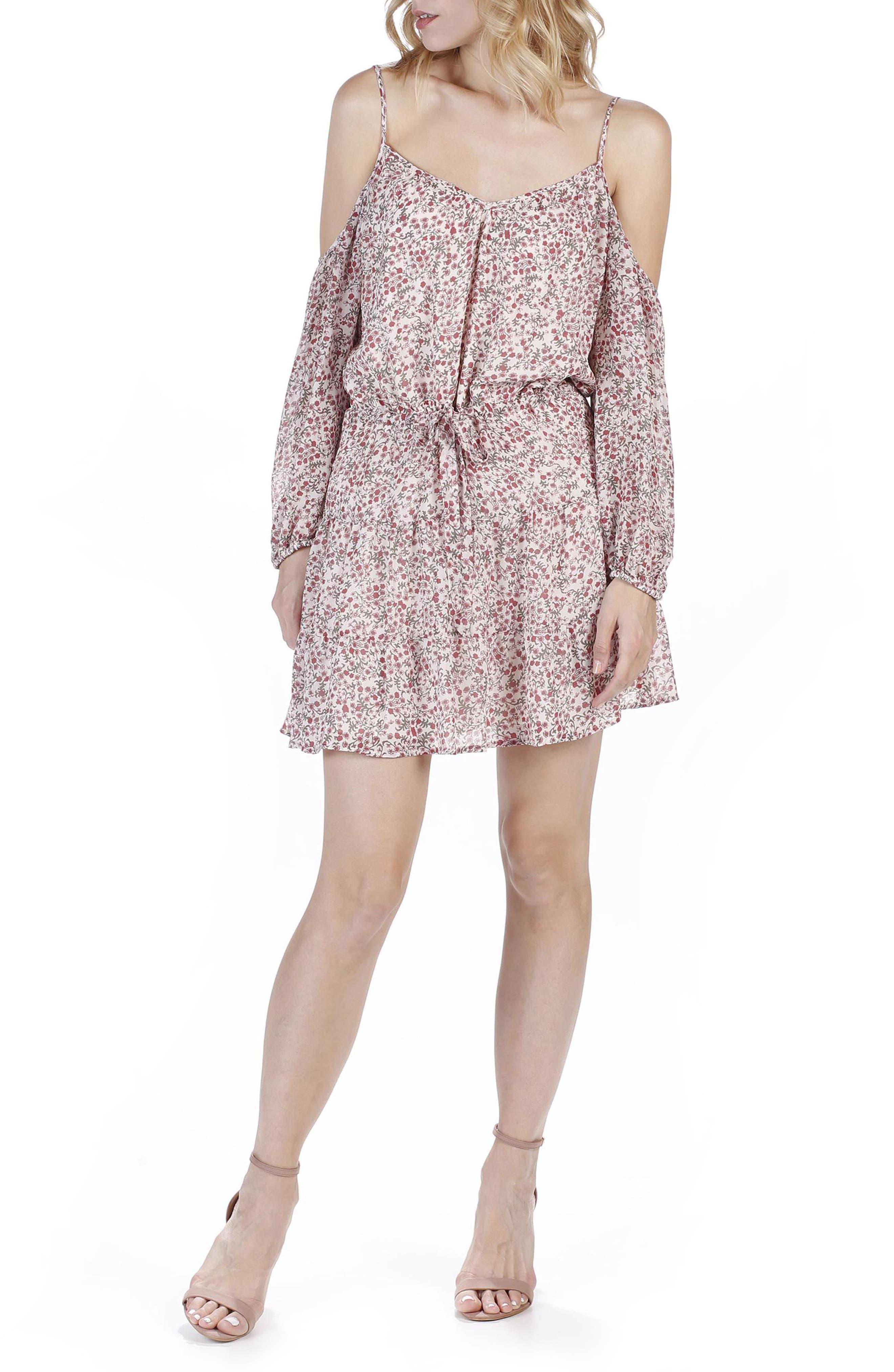 PAIGE Cristiana Cold Shoulder Silk Dress