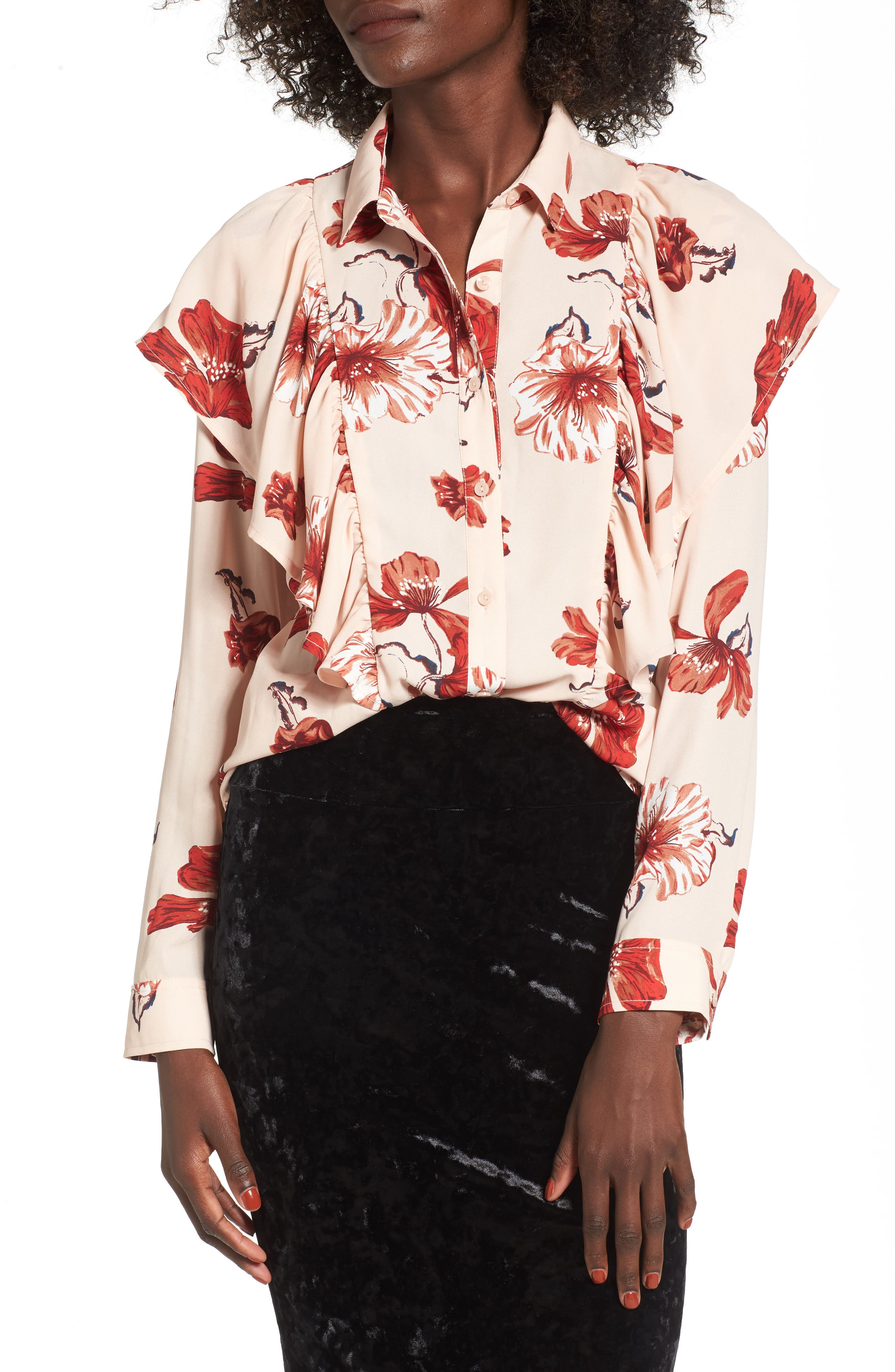 Floral Ruffle Top,                         Main,                         color, Pink Hero Expressive Floral