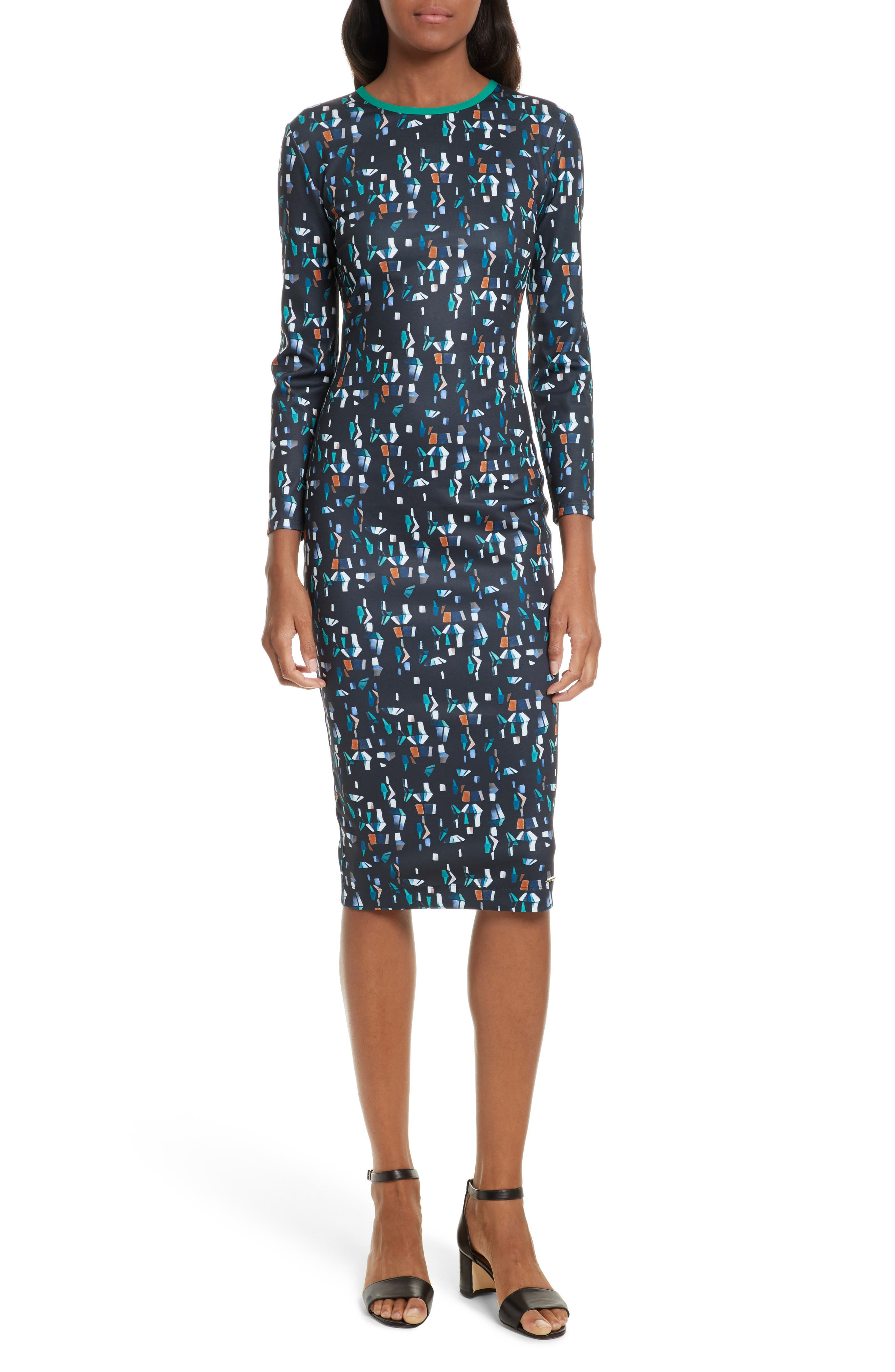 Kielder Print Body-Con Dress,                         Main,                         color, Navy