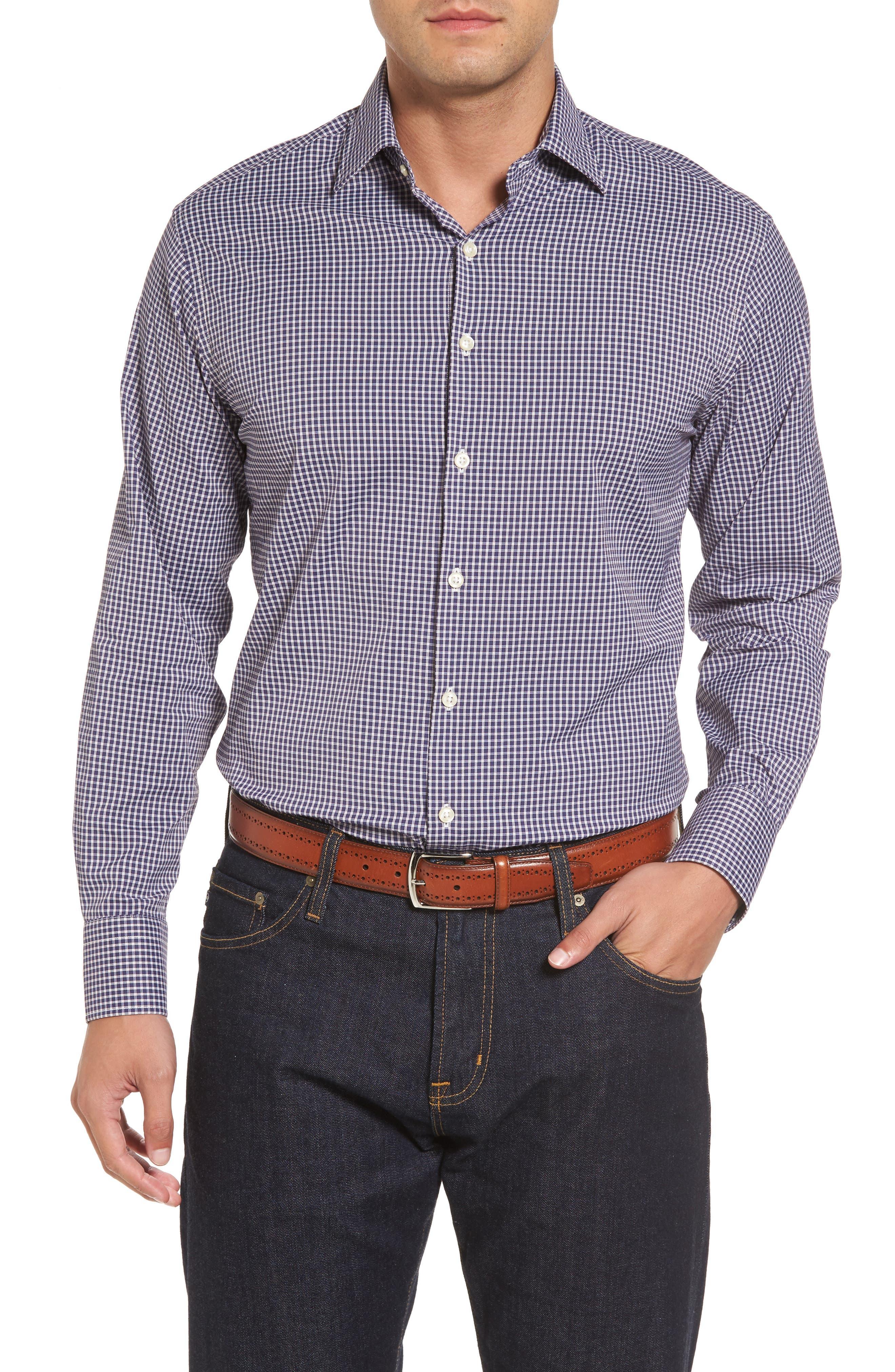 Statler Regular Fit Check Performance Sport Shirt,                         Main,                         color, Yankee Blue