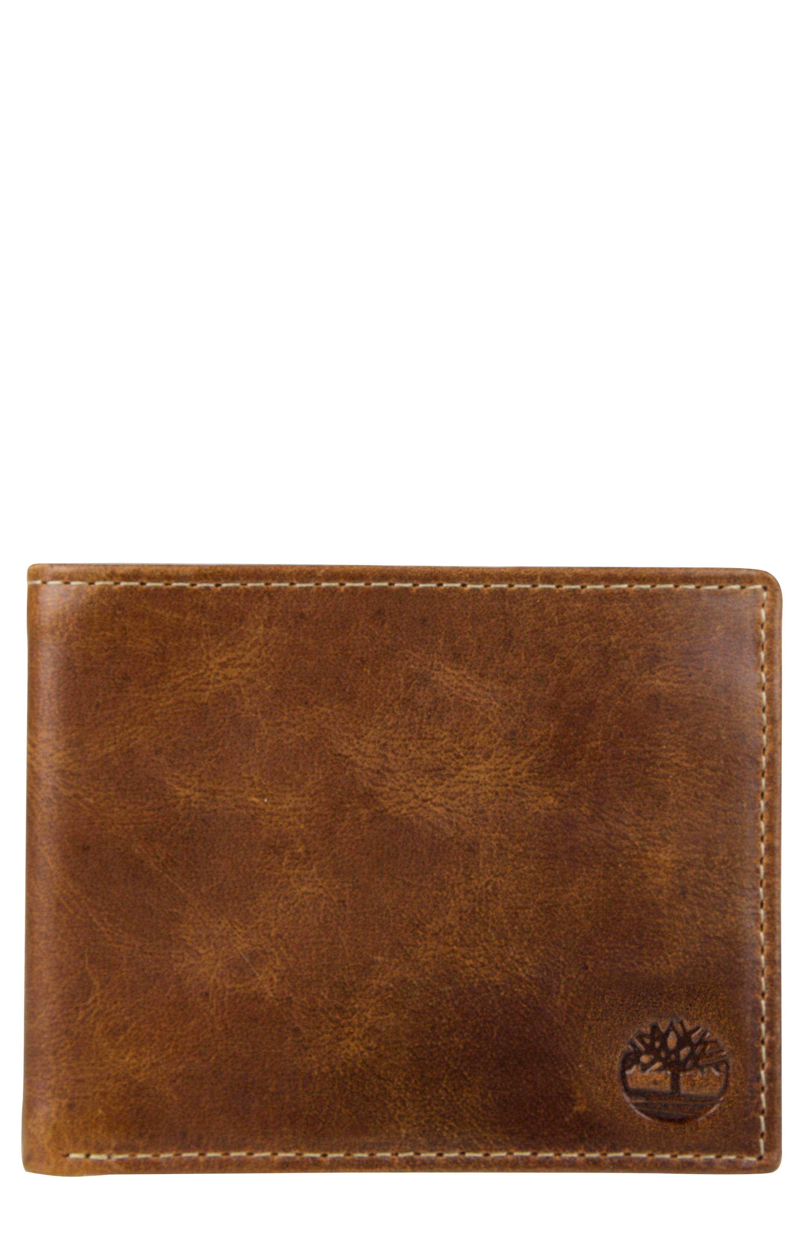 Leather Wallet,                             Main thumbnail 1, color,                             Cognac
