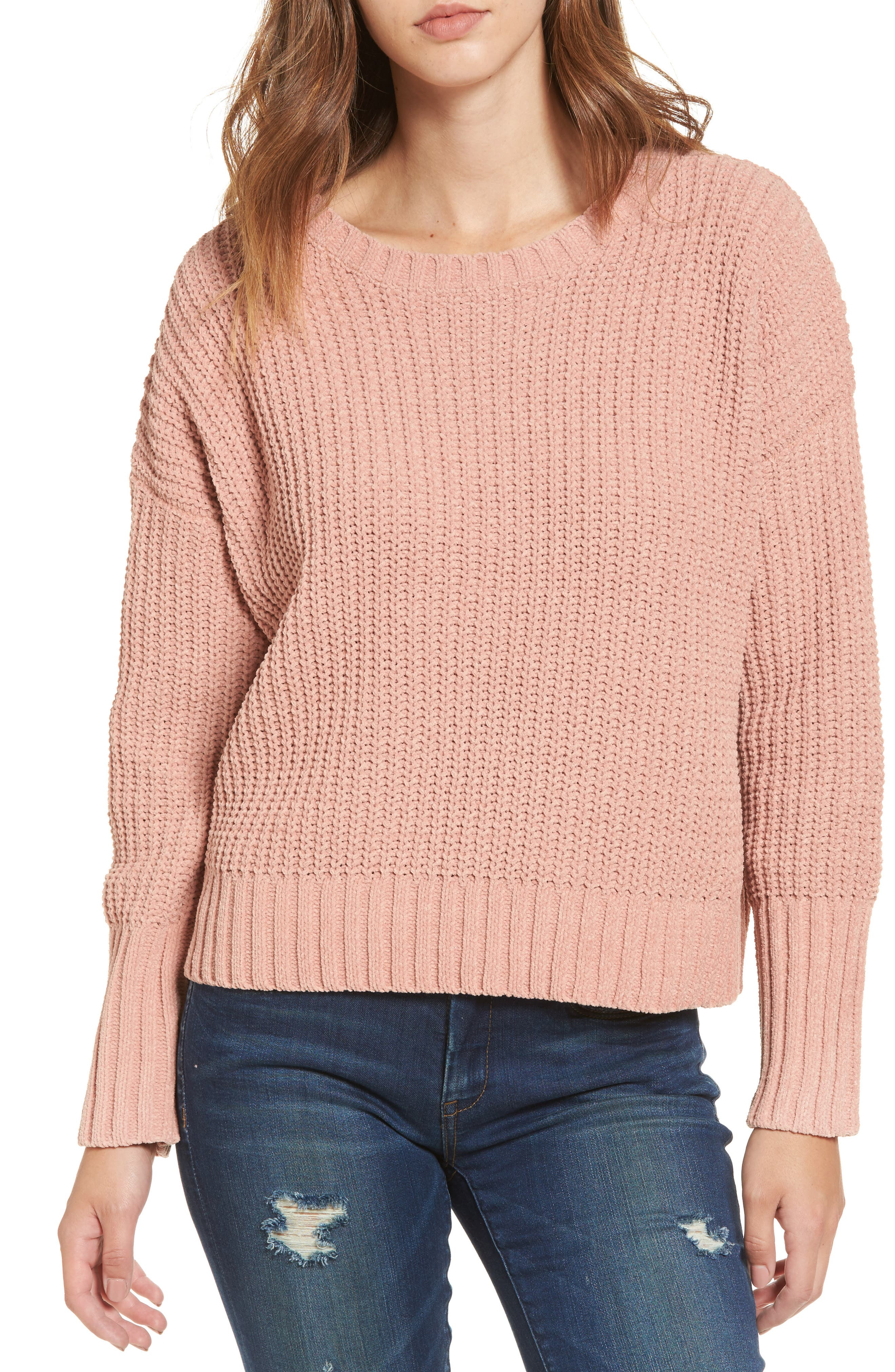 Drop Shoulder Chunky Knit Sweater,                         Main,                         color, Pink