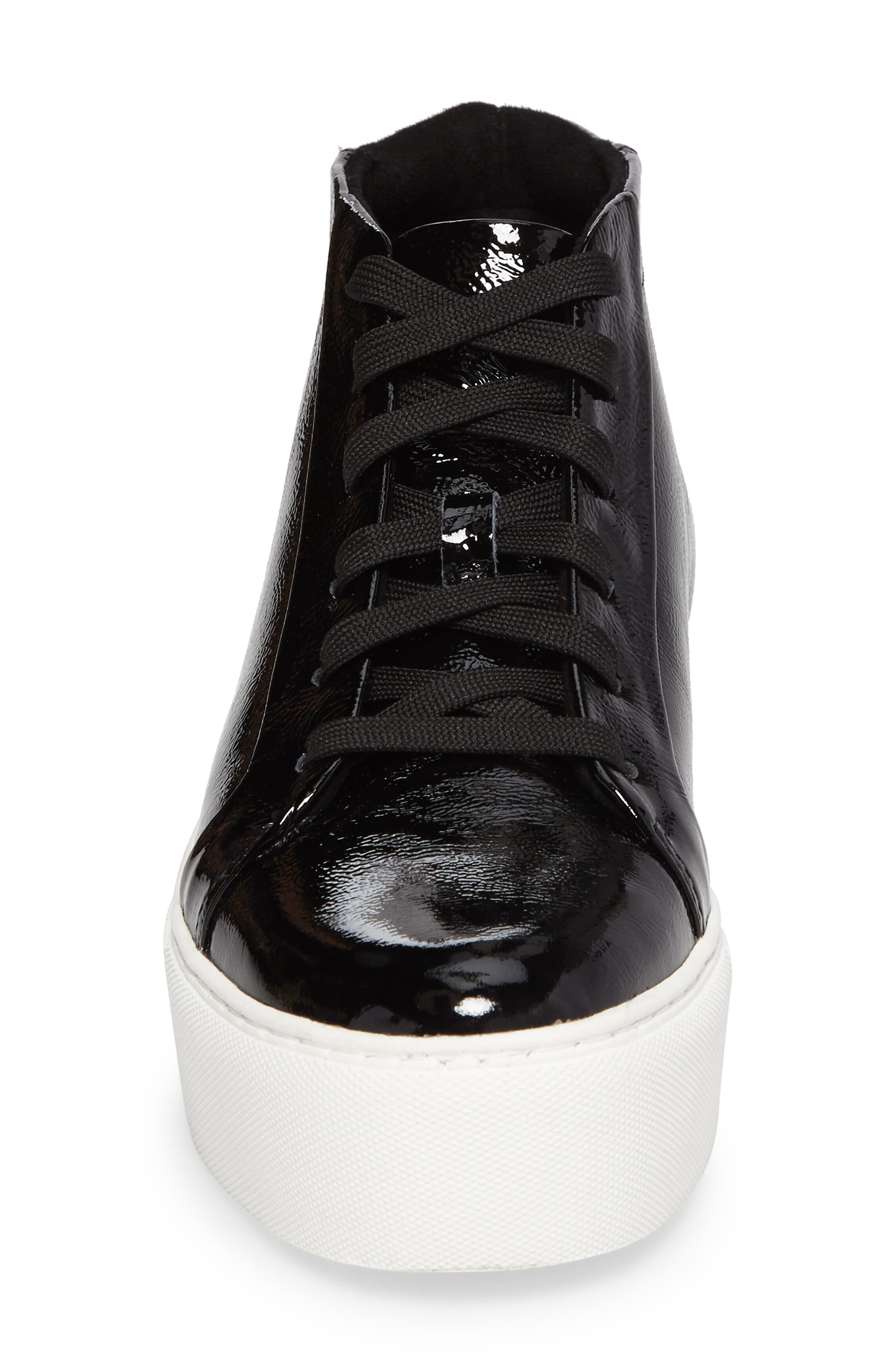 Janette High Top Platform Sneaker,                             Alternate thumbnail 4, color,                             Black Patent Leather