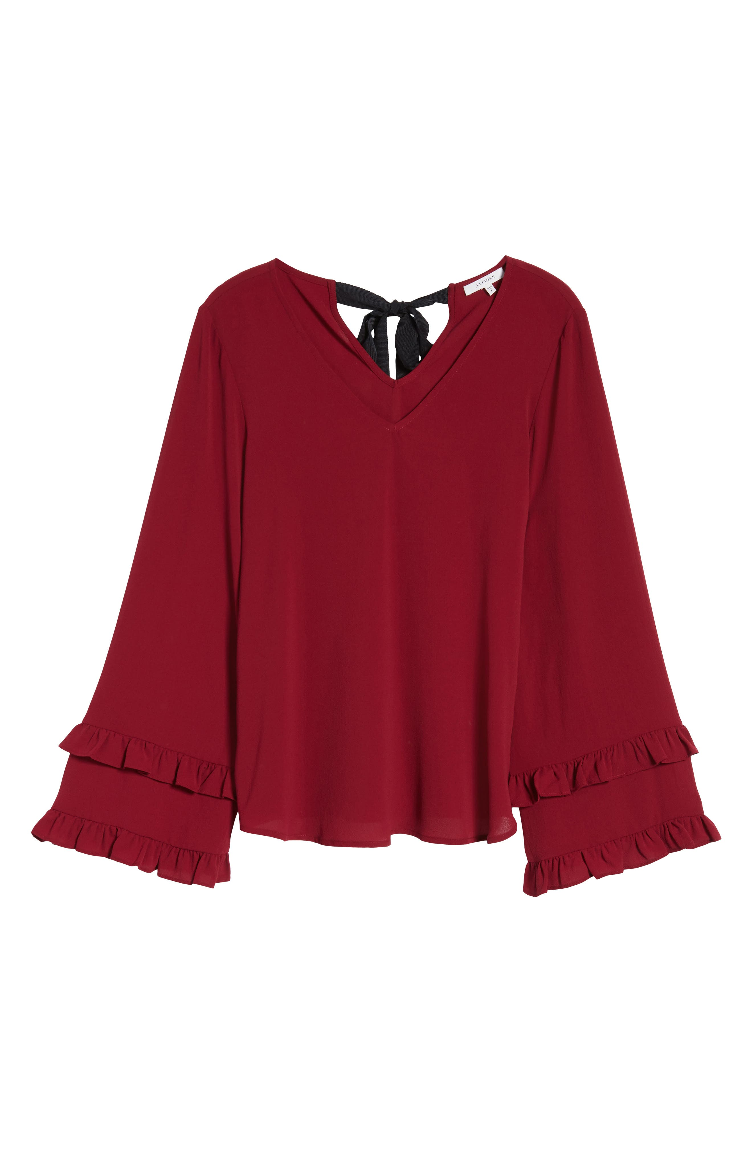 Ruffle Bell Sleeve Top,                             Alternate thumbnail 6, color,                             Wine