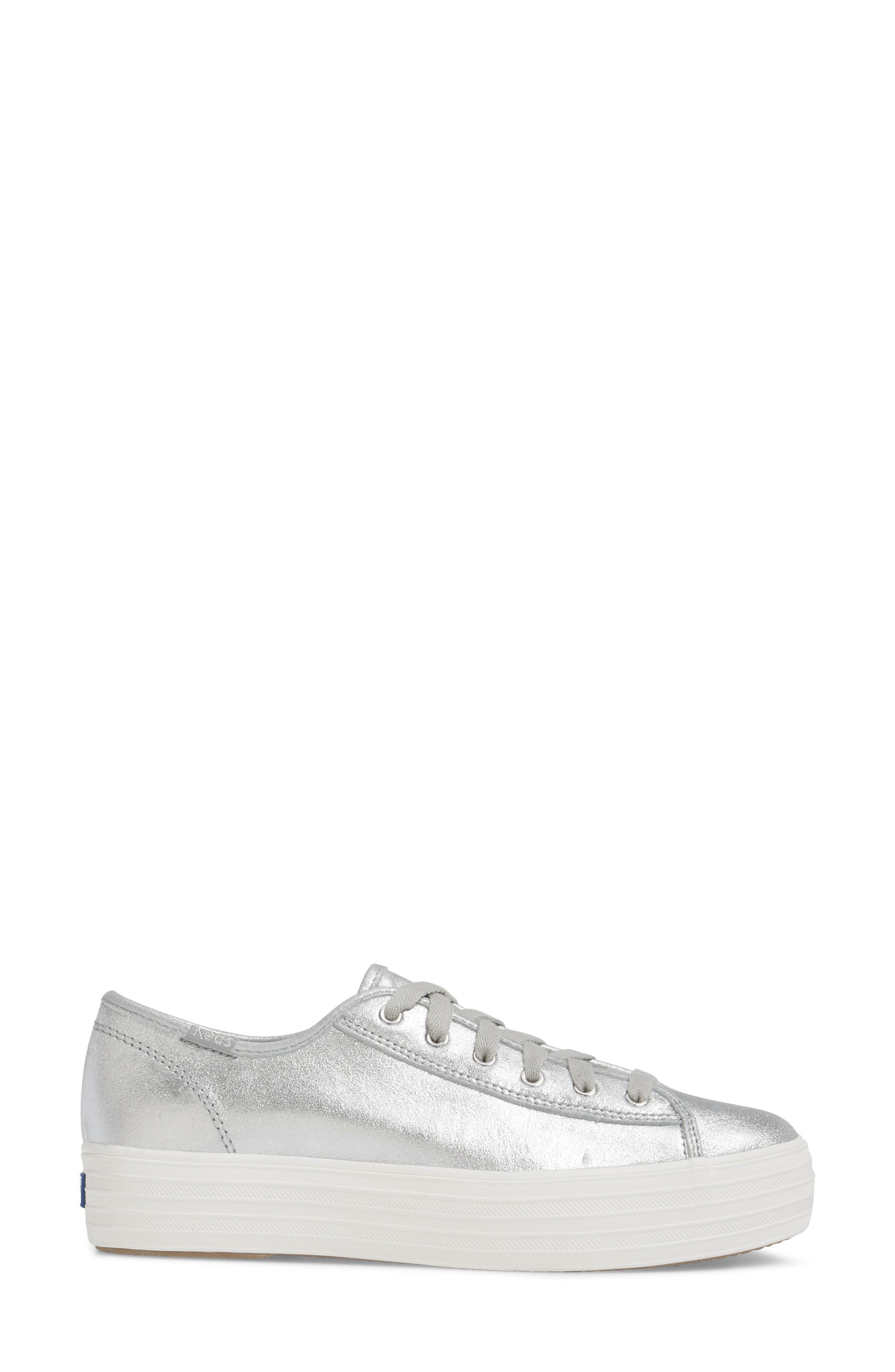 Triple Kick Platform Sneaker,                             Alternate thumbnail 3, color,                             Silver