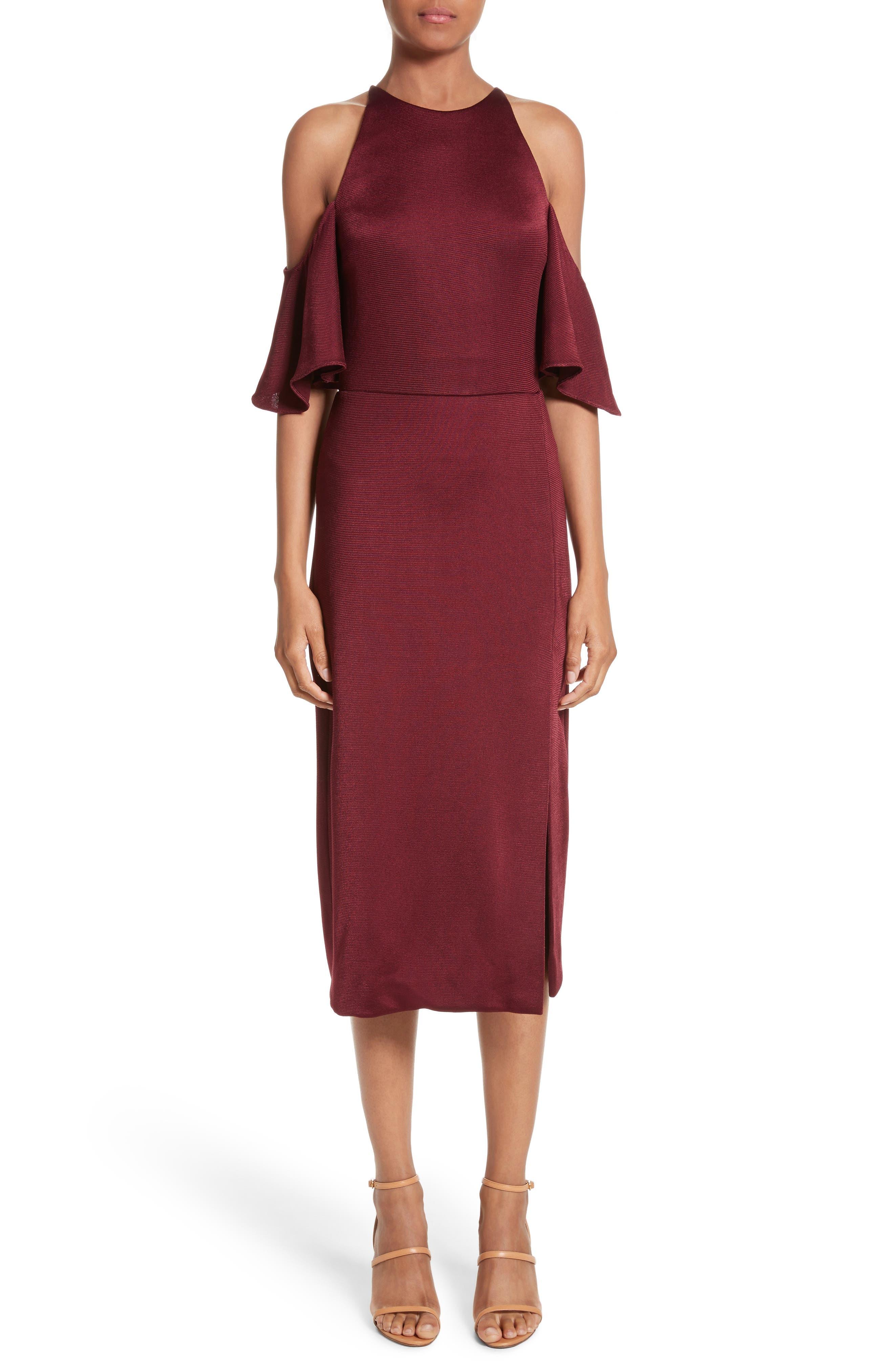 Flutter Sleeve Cold Shoulder Pencil Dress,                         Main,                         color, Auburn