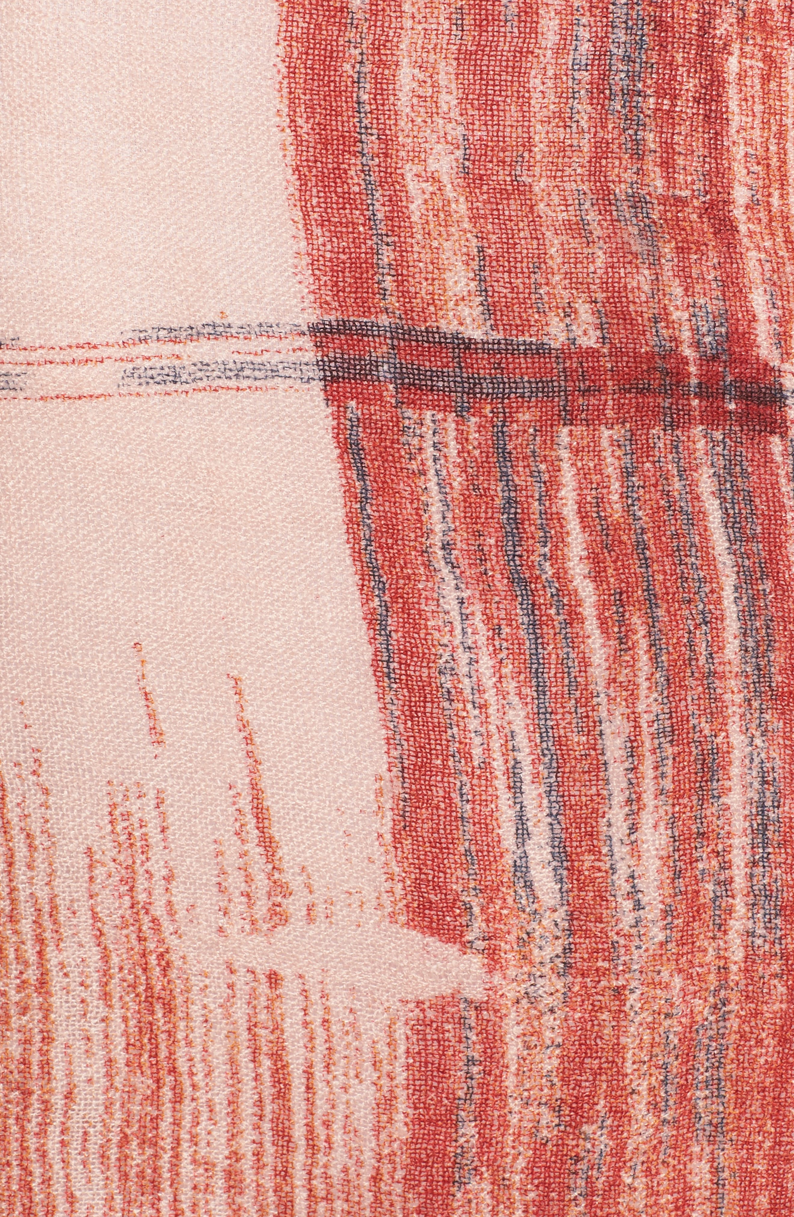Ikat Plaid Dip Dye Wrap,                             Alternate thumbnail 6, color,                             Red Combo