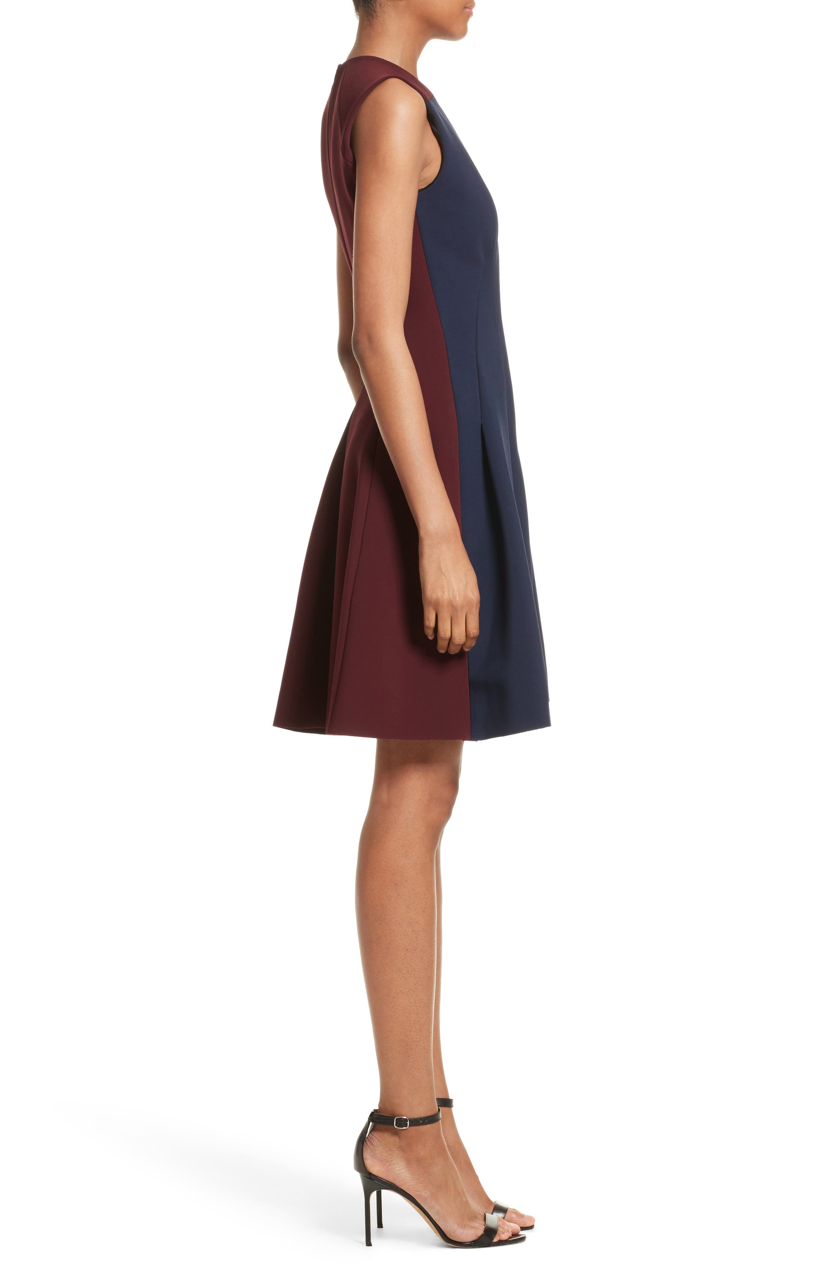 Colorblock Fit & Flare Dress,                             Alternate thumbnail 3, color,                             Navy