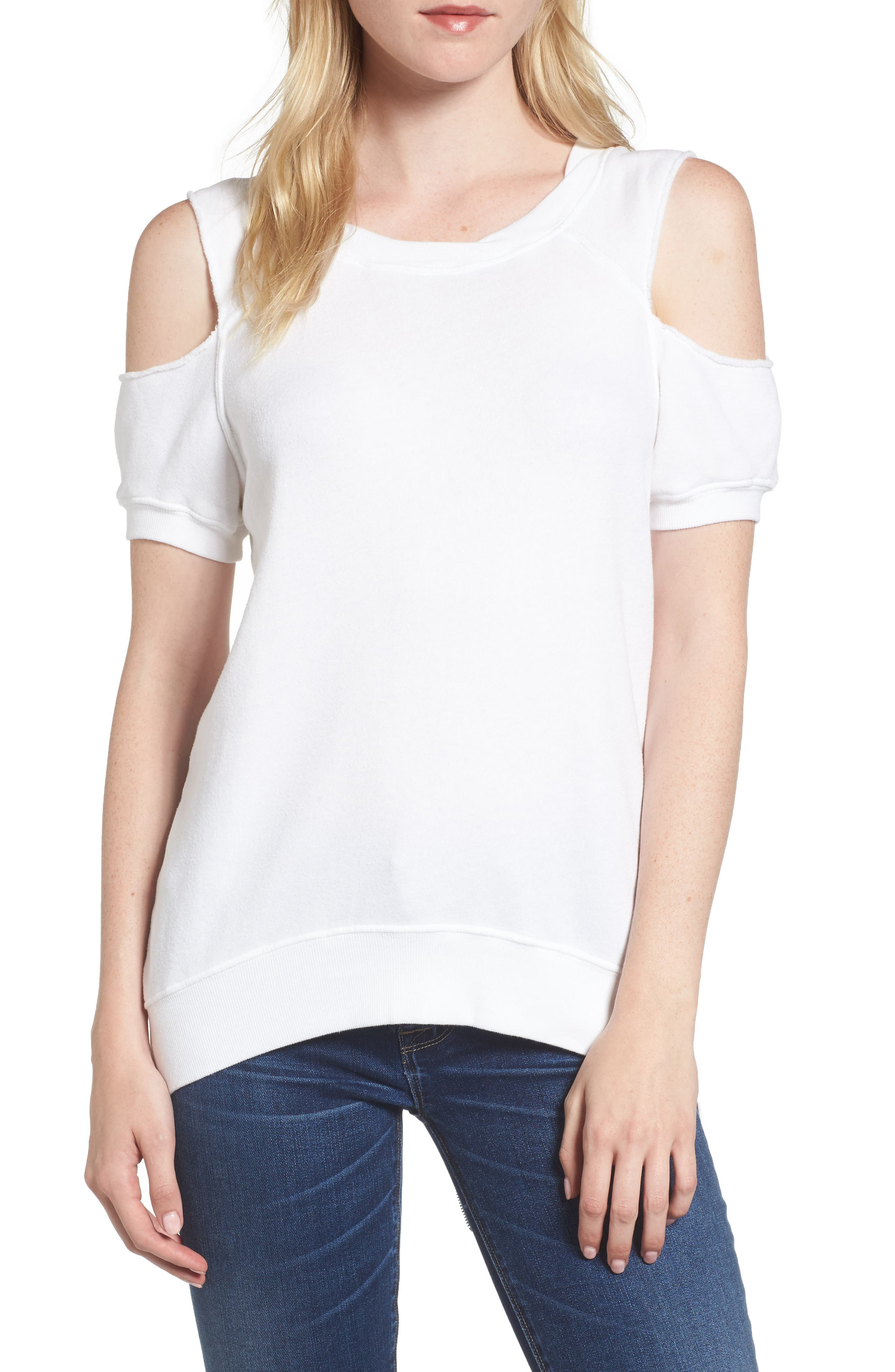 Cold Shoulder Sweatshirt,                         Main,                         color, White